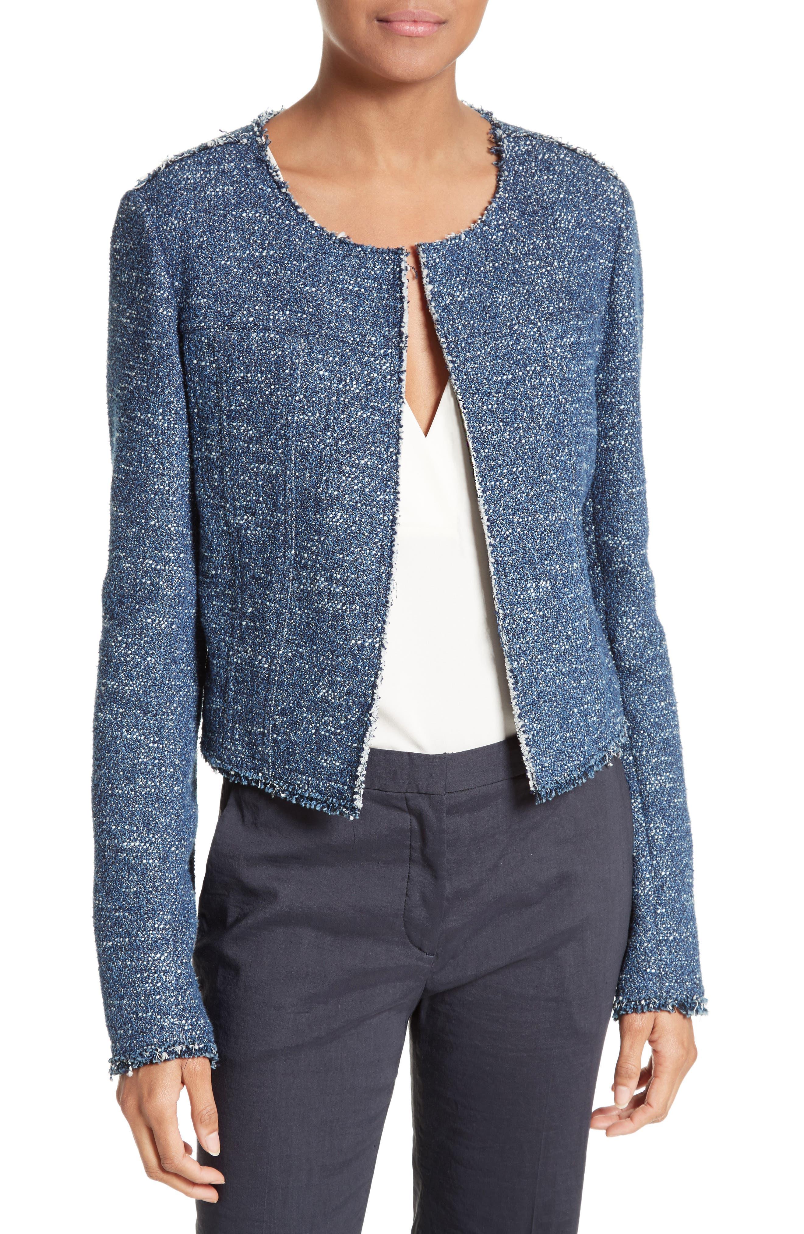 Ualana Indigo Tweed Jacket,                         Main,                         color, 498