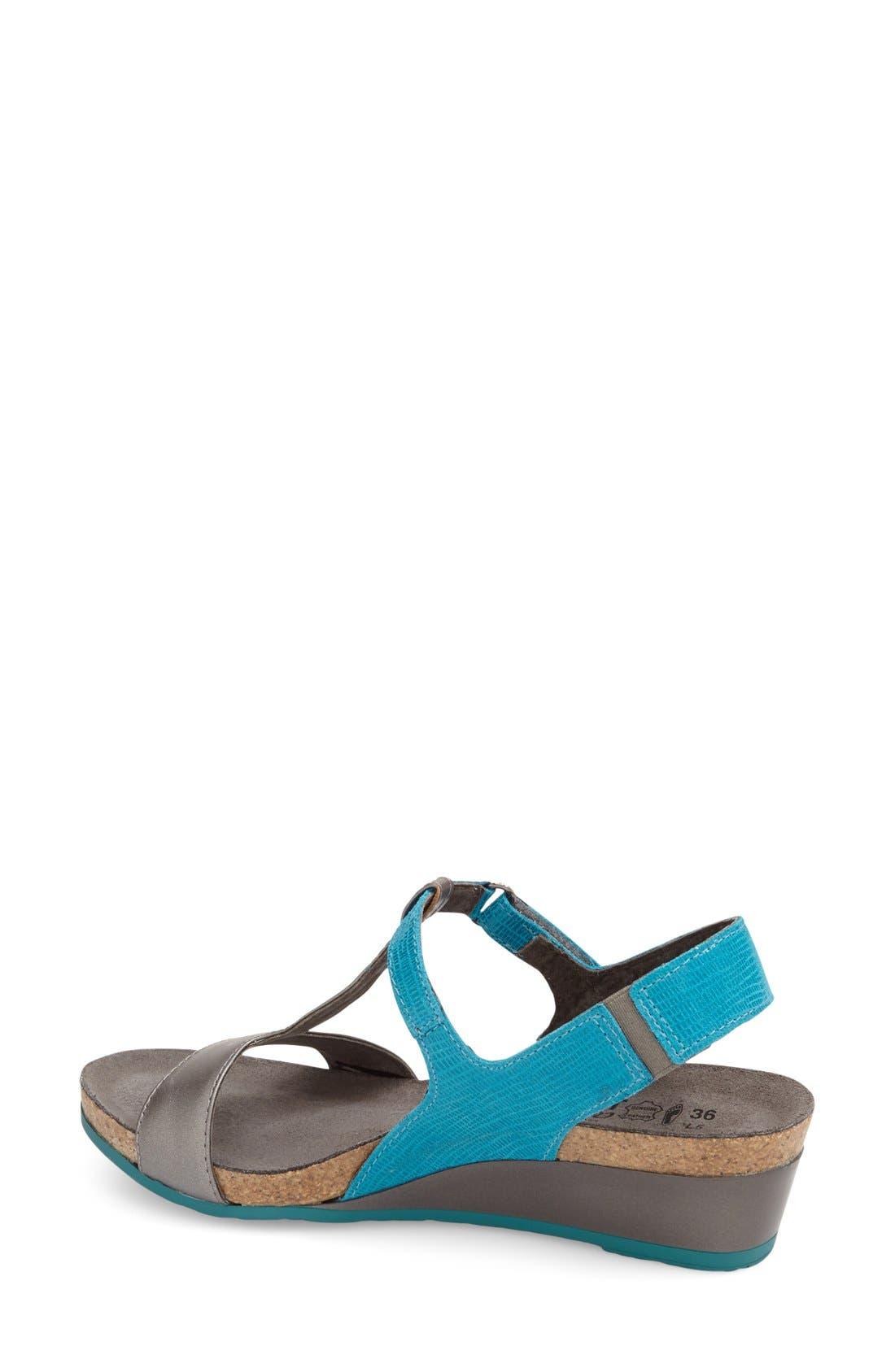 'Unicorn' T-Strap Sandal,                             Alternate thumbnail 2, color,                             AQUAMARINE LEATHER