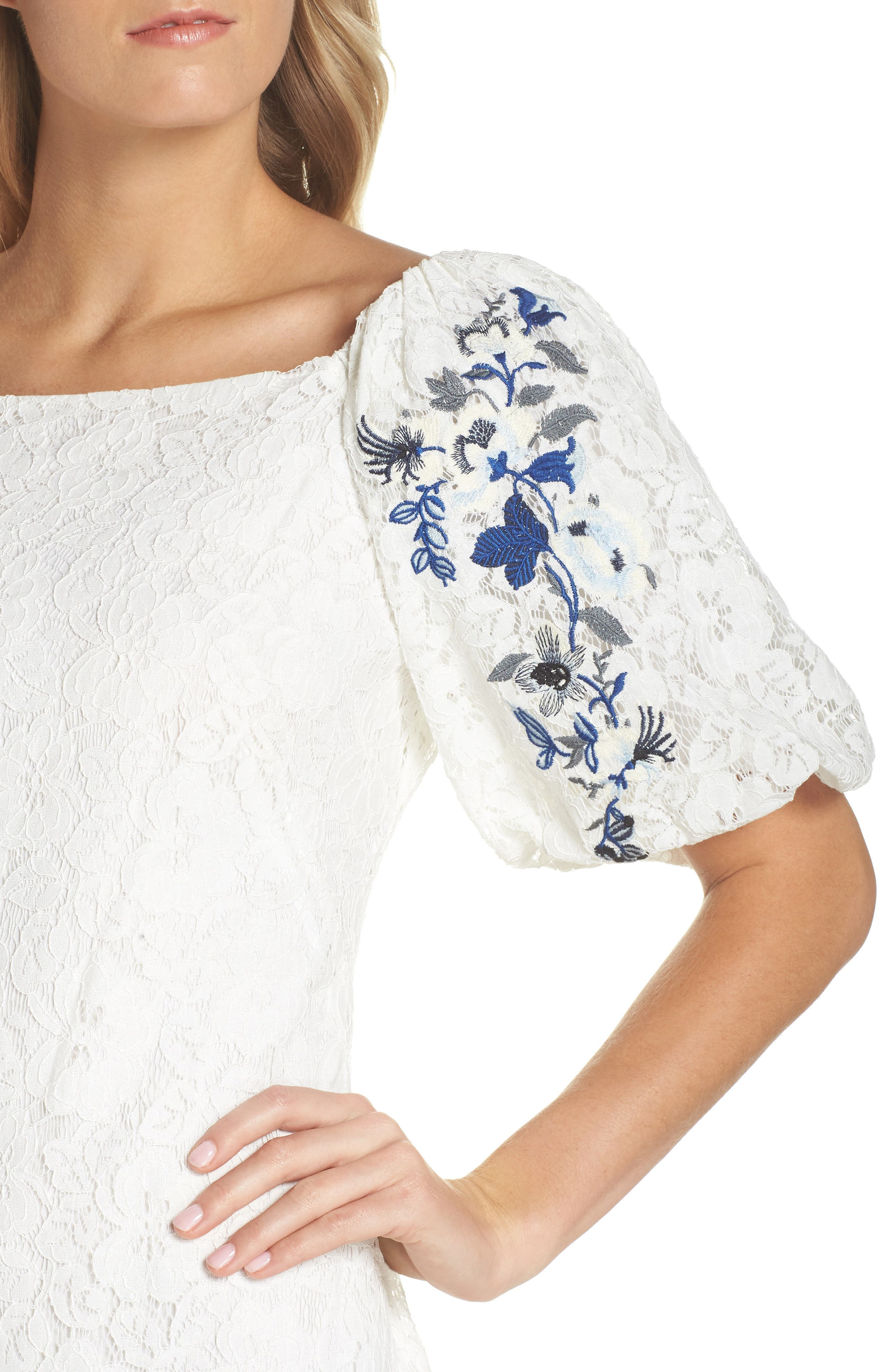 Lace Sheath Dress,                             Alternate thumbnail 4, color,                             120