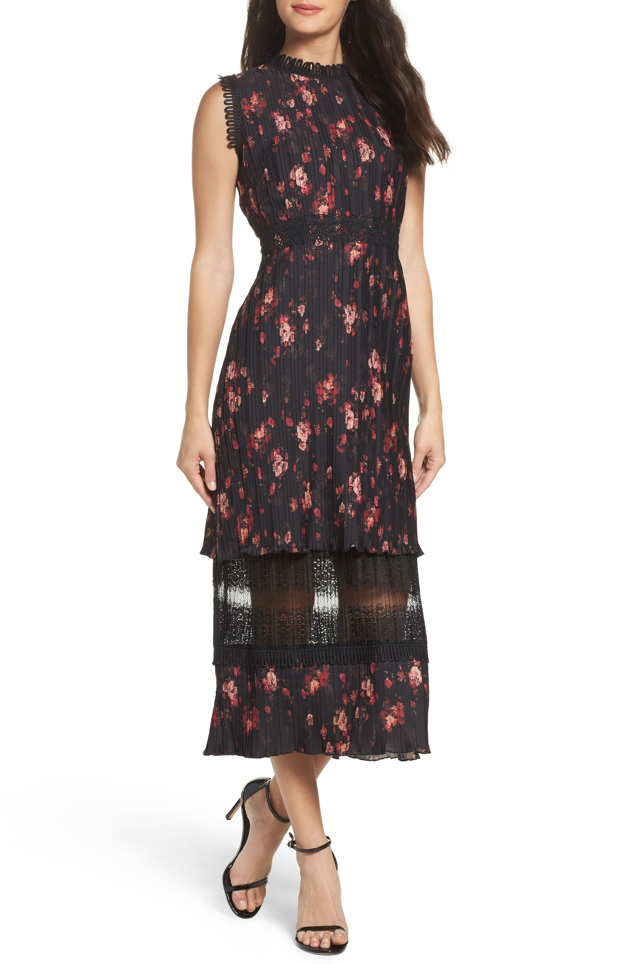 Biella Floral Midi Dress,                             Main thumbnail 1, color,                             016
