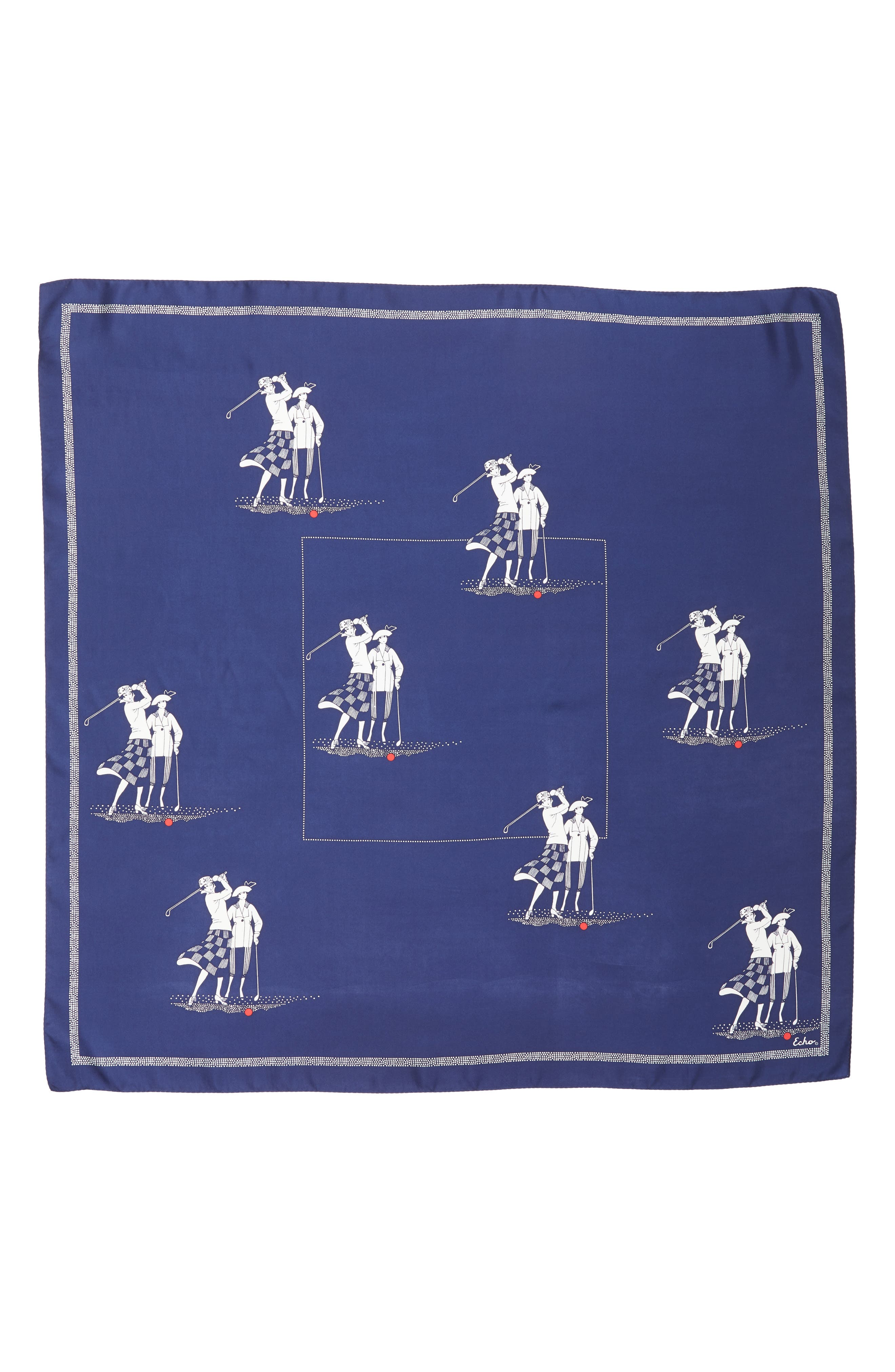 Golf Day Square Silk Scarf,                             Alternate thumbnail 3, color,                             MARITIME NAVY