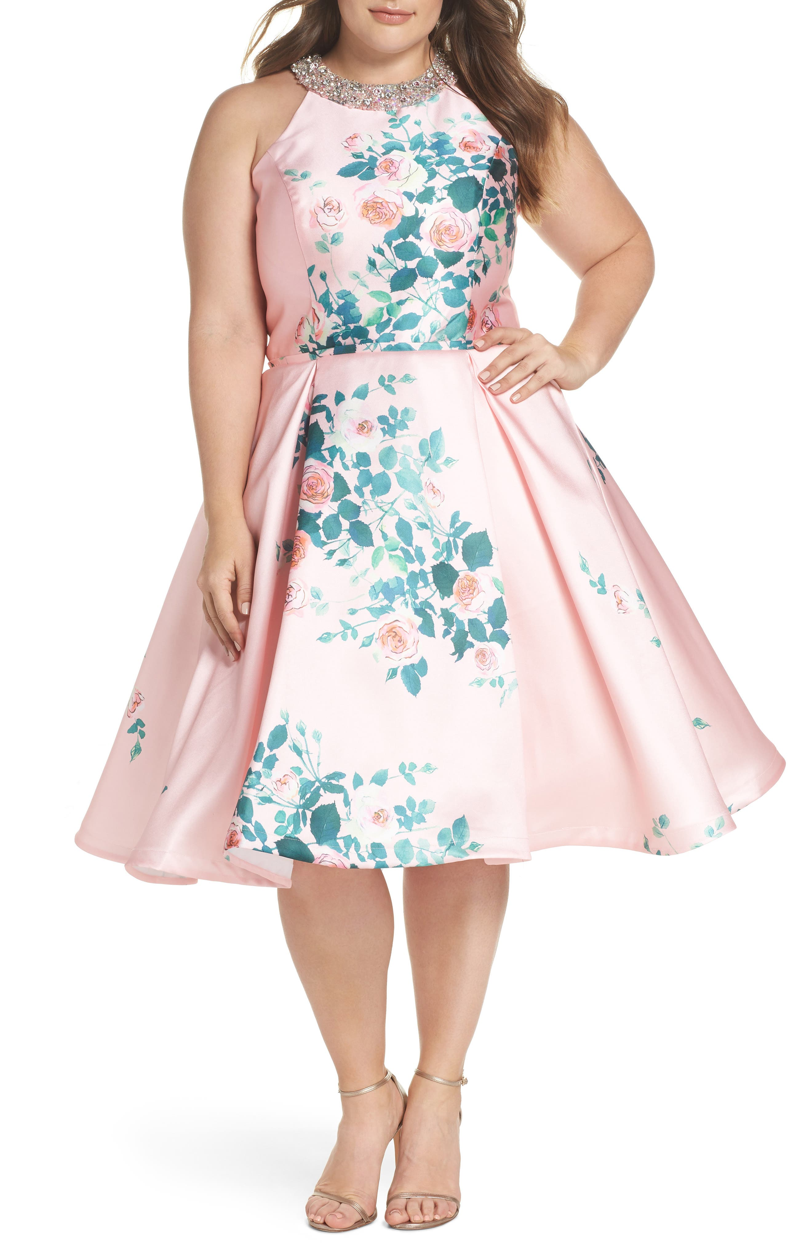 Floral Print Fit & Flare Dress,                             Main thumbnail 1, color,                             698