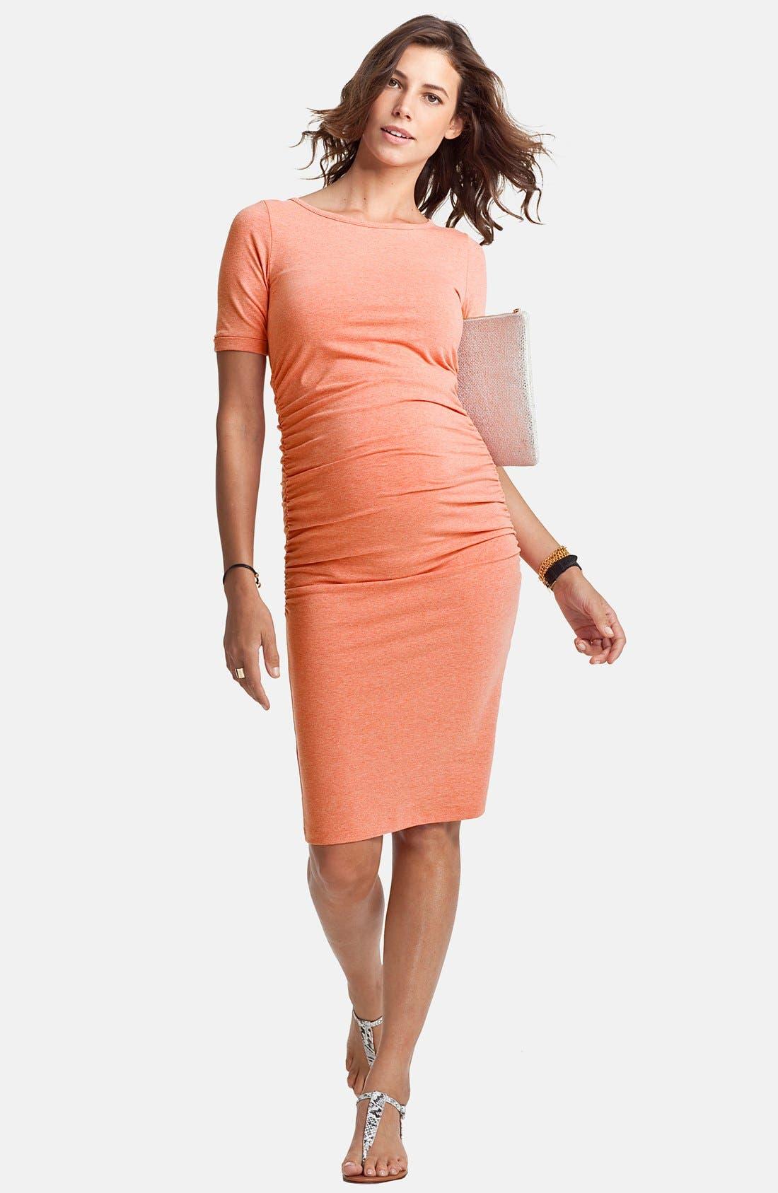 Ruched Maternity Dress,                             Alternate thumbnail 2, color,                             PALE ORANGE MELANGE