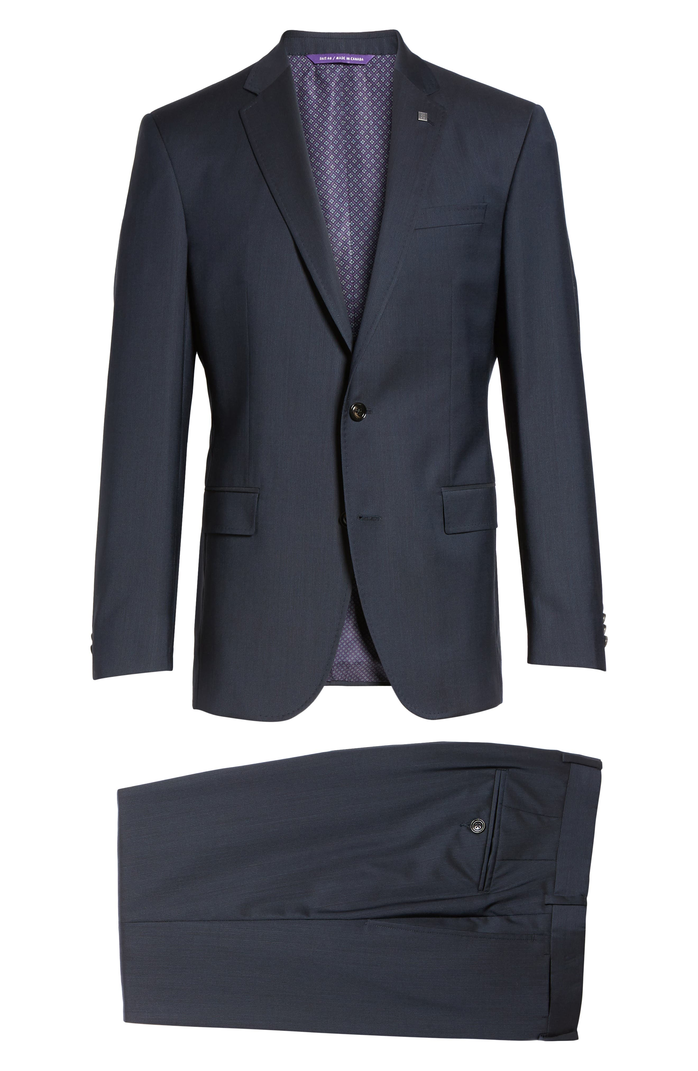 Trim Fit Solid Wool Suit,                             Alternate thumbnail 8, color,