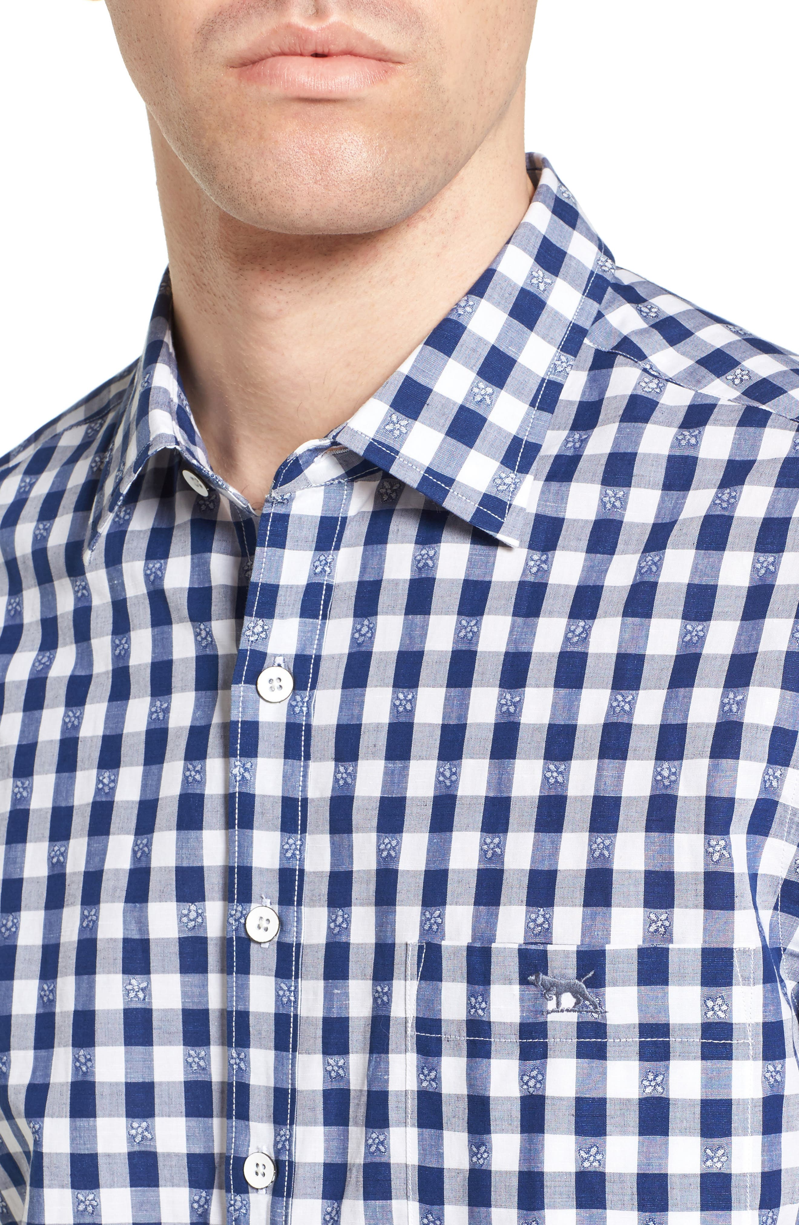 Wallace Floral Check Sport Shirt,                             Alternate thumbnail 4, color,                             423