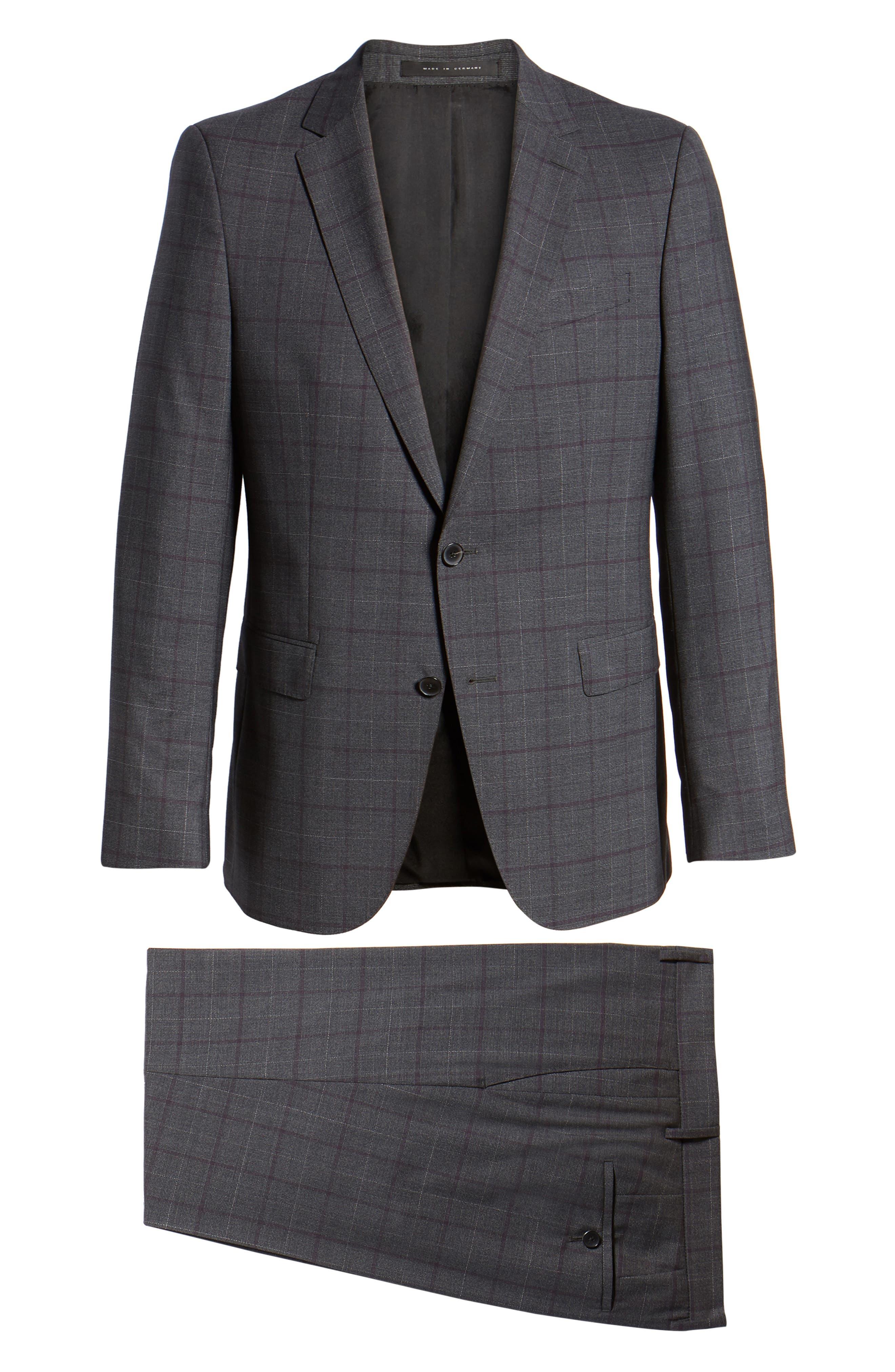 BOSS,                             Novan/Ben Trim Fit Plaid Wool Suit,                             Alternate thumbnail 8, color,                             506