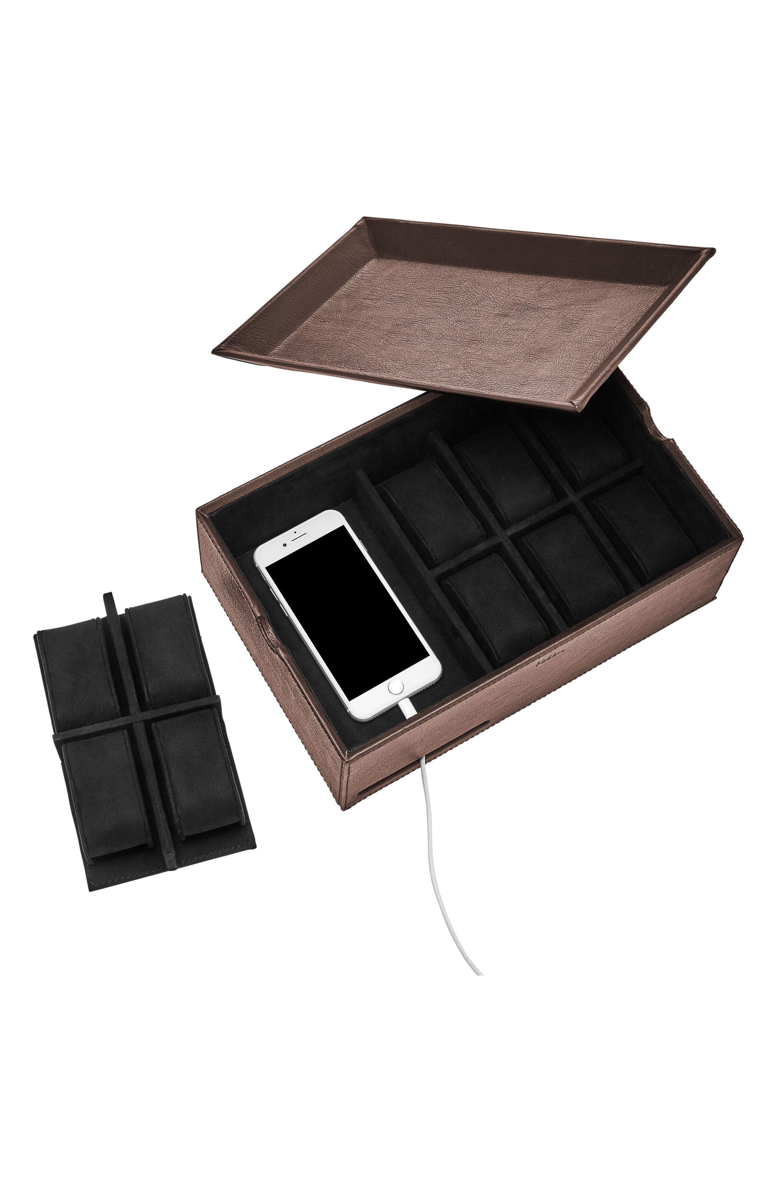 10-Piece Watch Box & Valet Tray,                             Alternate thumbnail 3, color,                             200