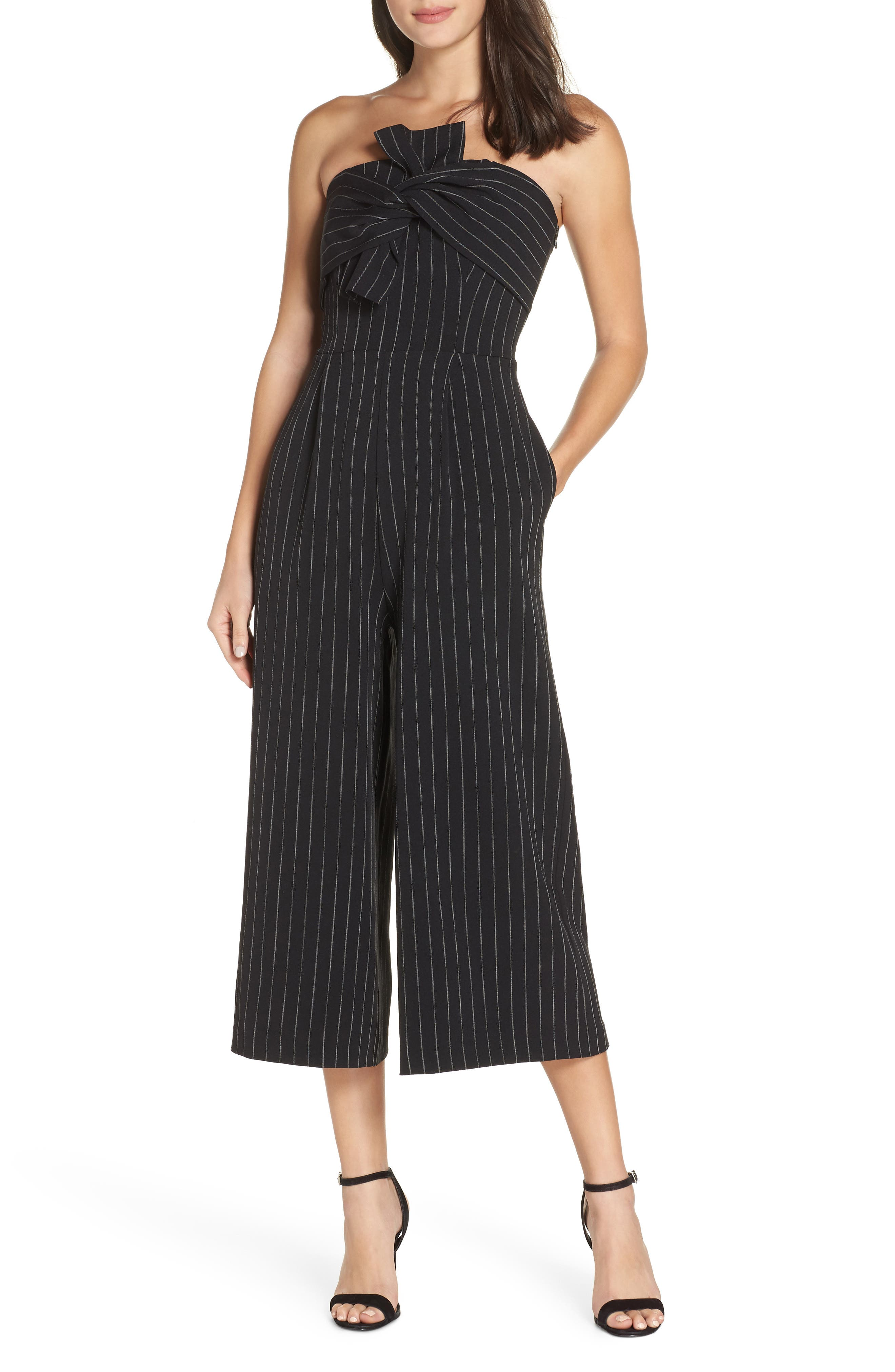 Pinstripe Tie Front Jumpsuit,                             Main thumbnail 1, color,                             001
