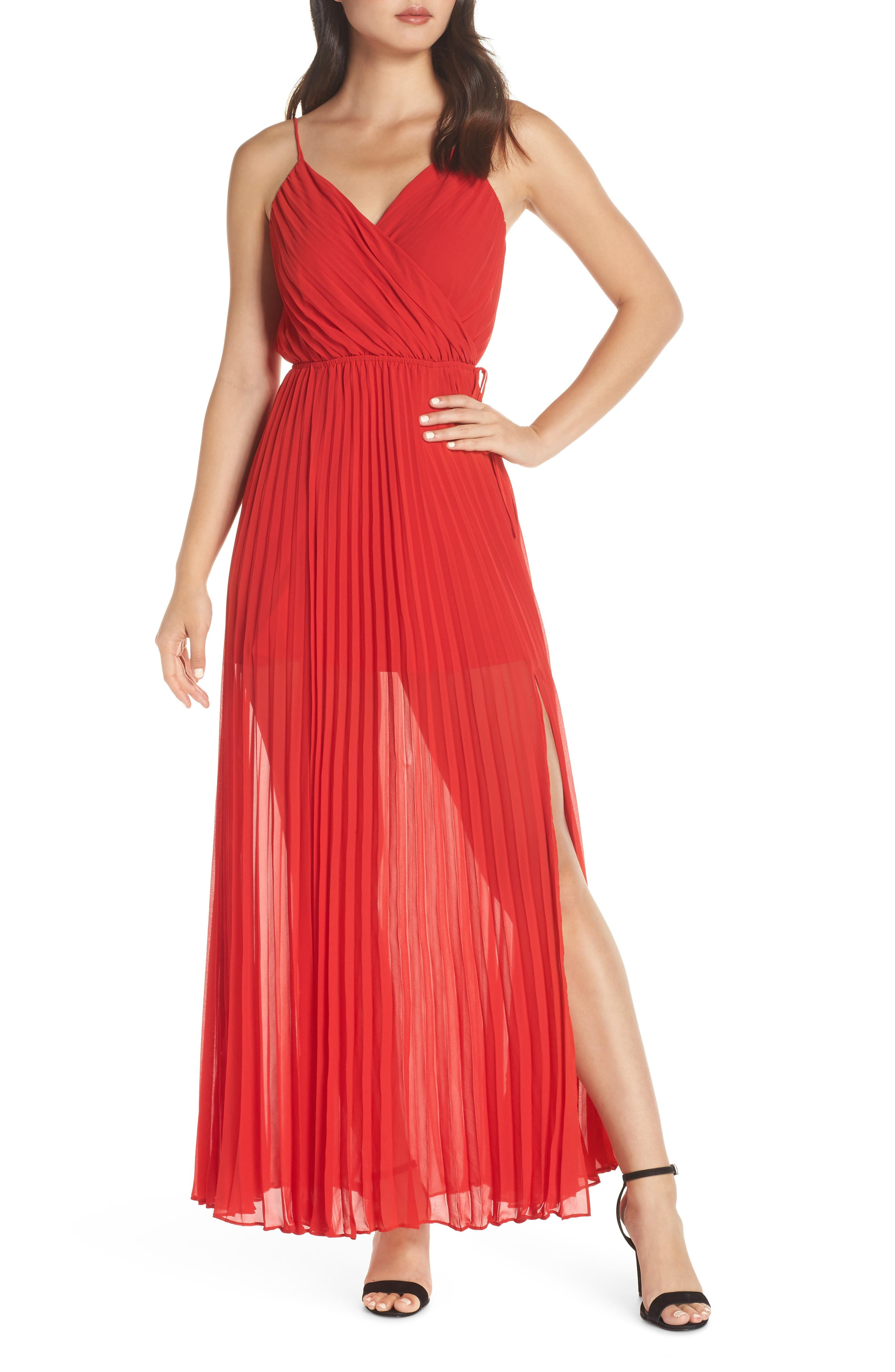 ALI & JAY Roses Are Red Pleated Maxi Dress in Scarlet