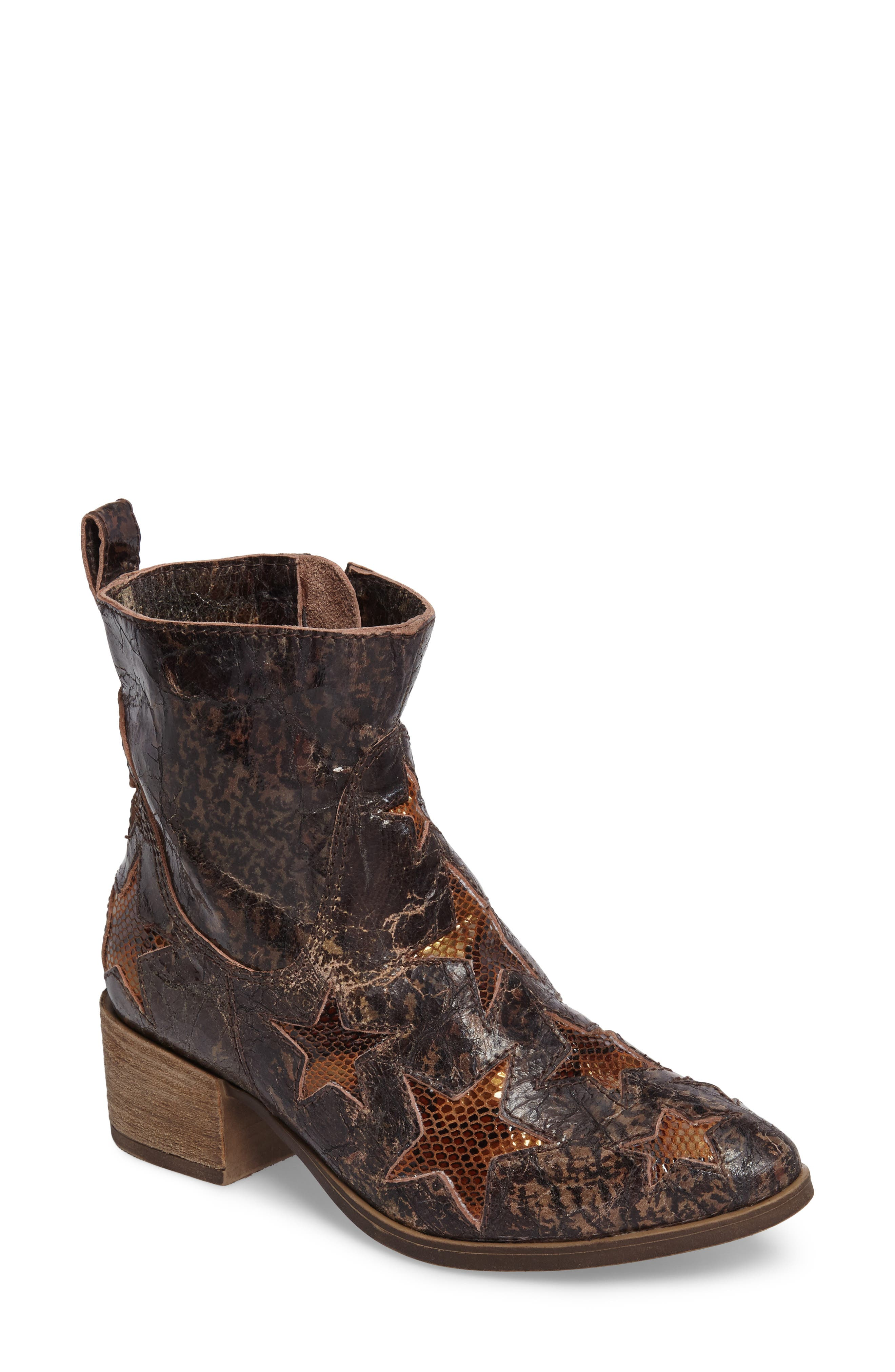 Crinkle Finish Star Bootie,                             Main thumbnail 1, color,                             MID BROWN LEATHER
