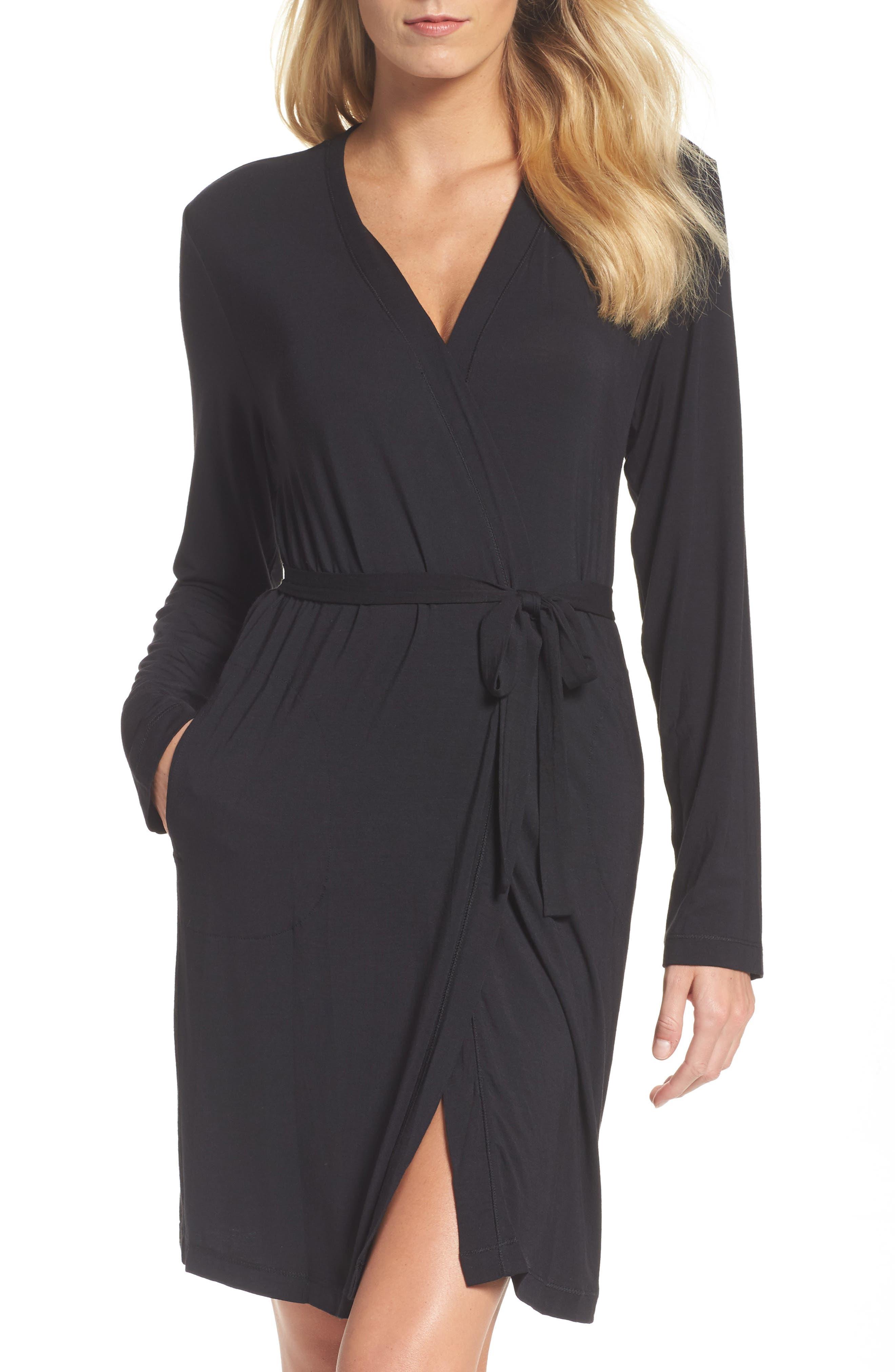 'City Essentials' Short Robe,                         Main,                         color, 001