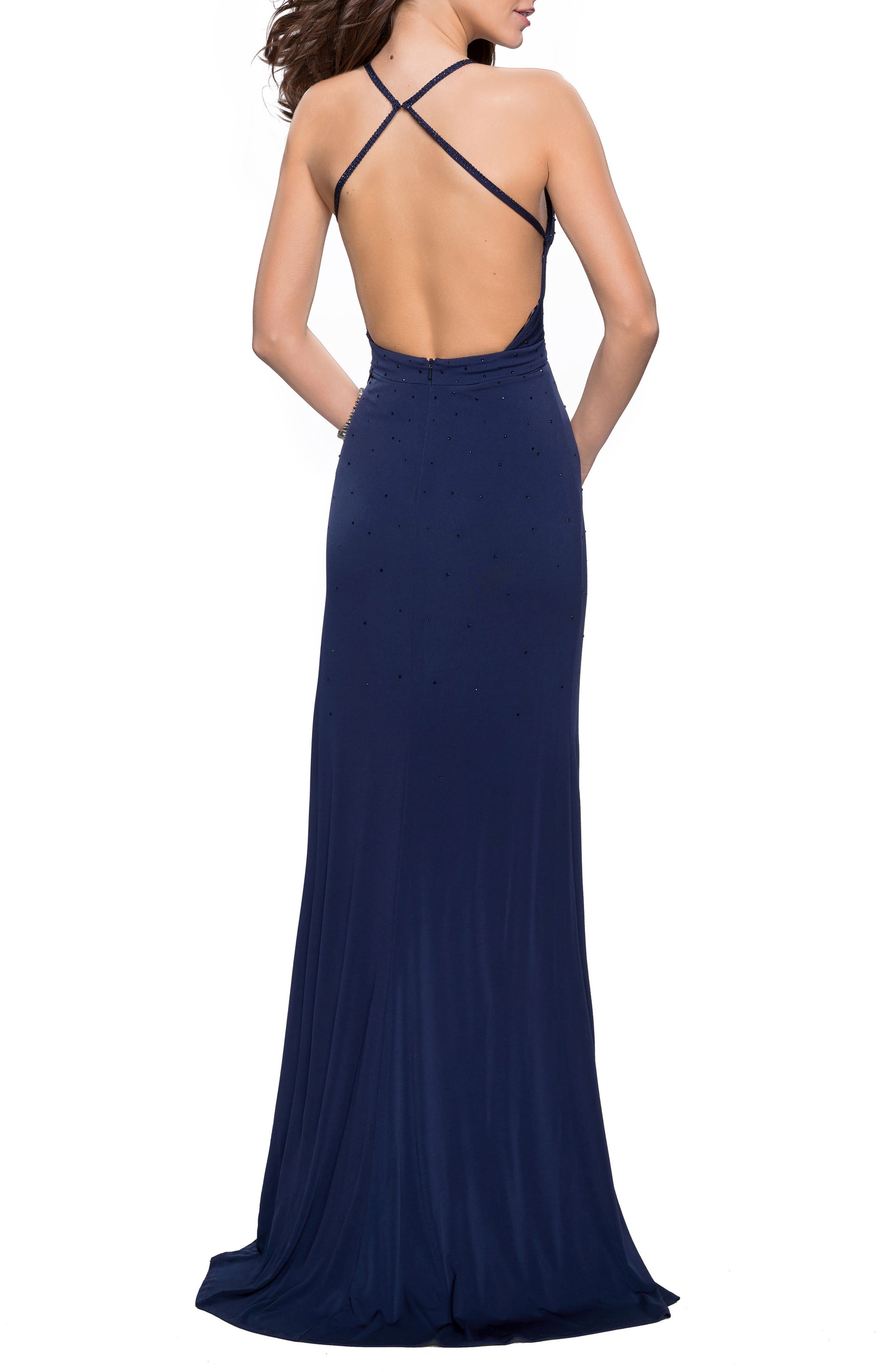 Studded Pleated Gown,                             Alternate thumbnail 2, color,                             NAVY
