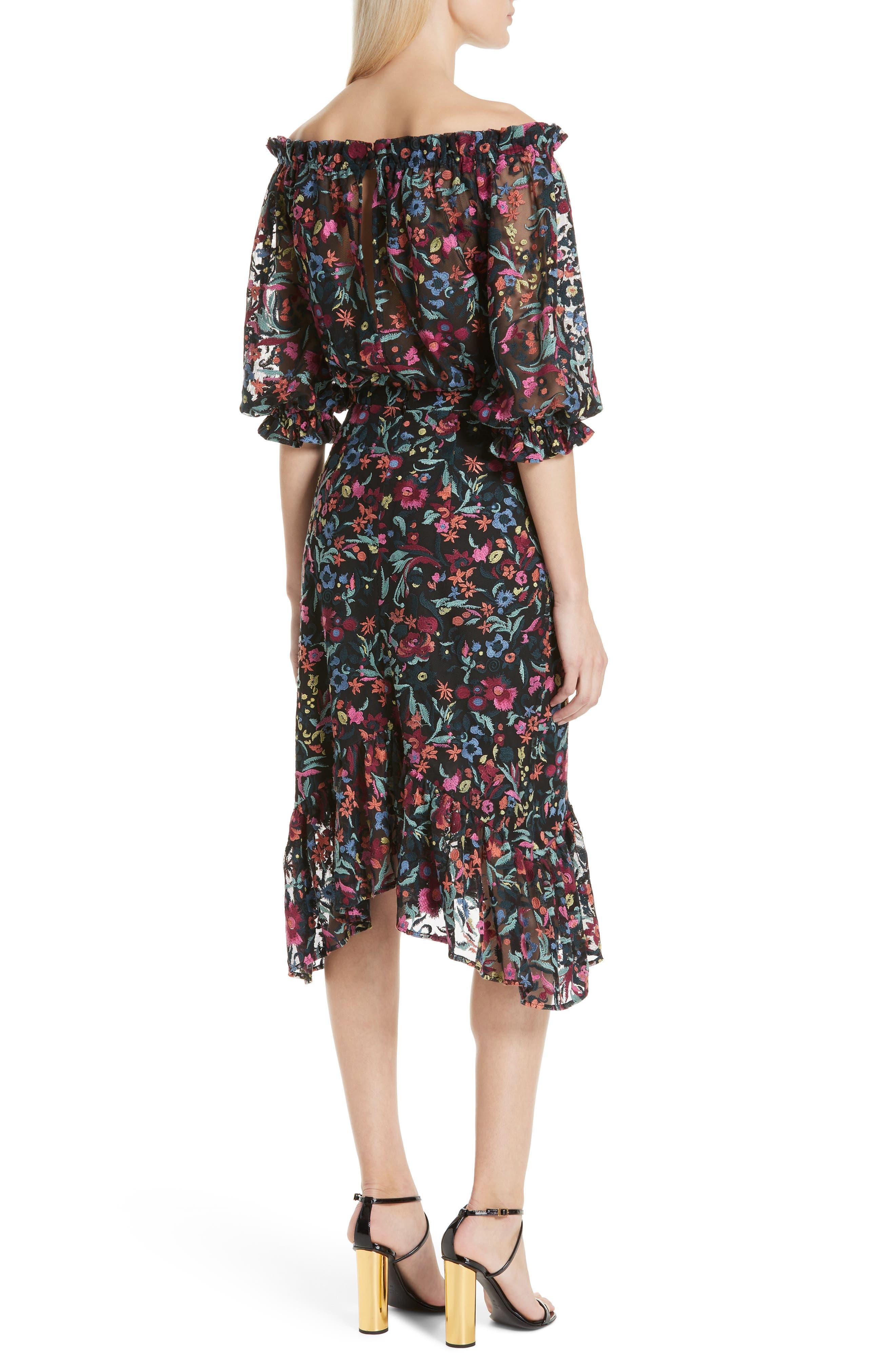 Grace Floral Embroidered Off the Shoulder Tulle Dress,                             Alternate thumbnail 2, color,                             BOUQUET NOIR