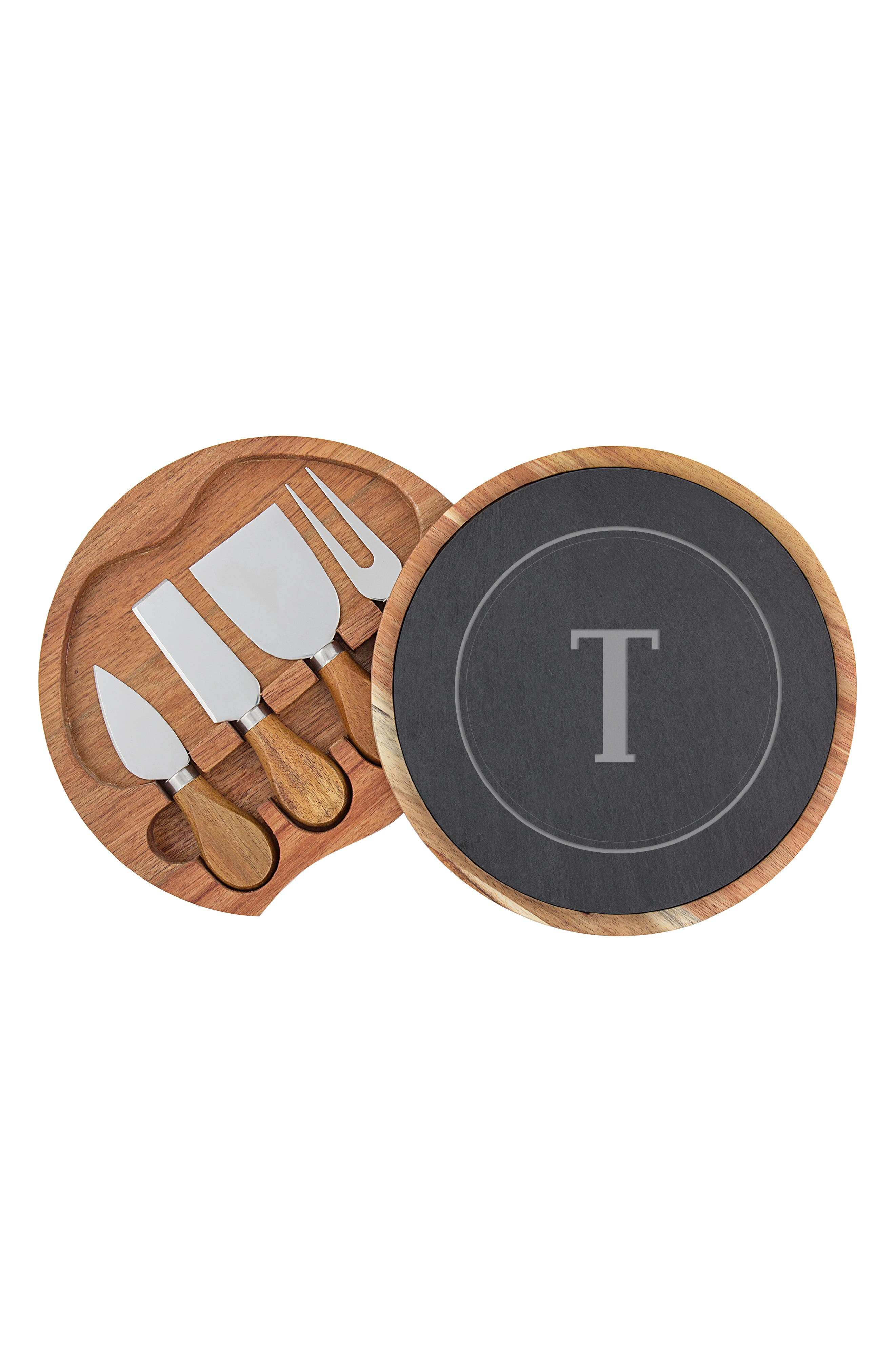 Monogram 5-Piece Cheese Board & Utensil Set,                             Alternate thumbnail 2, color,                             BROWN