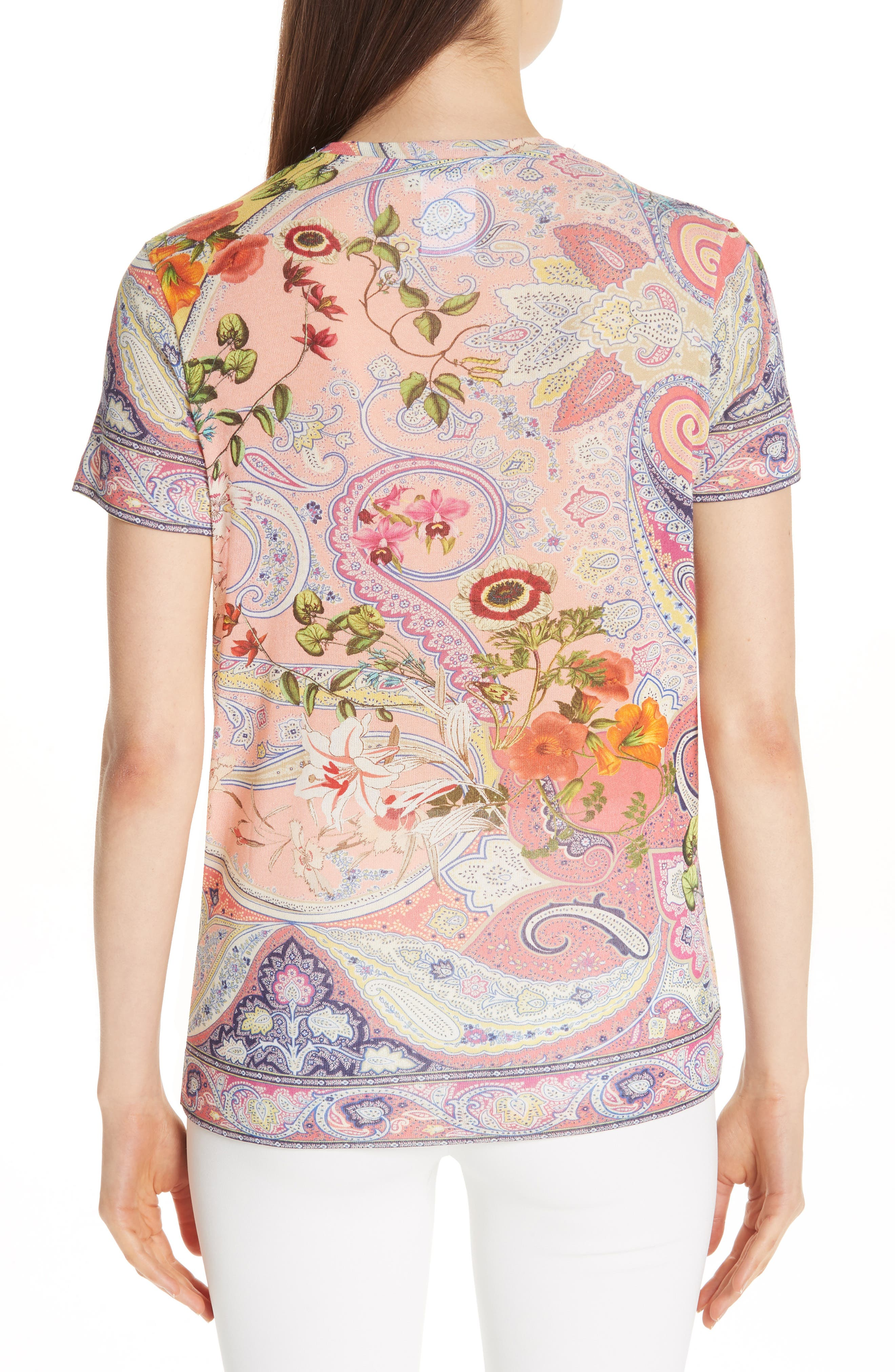 ETRO,                             Paisley Print Stretch Jersey Tee,                             Alternate thumbnail 2, color,                             RED