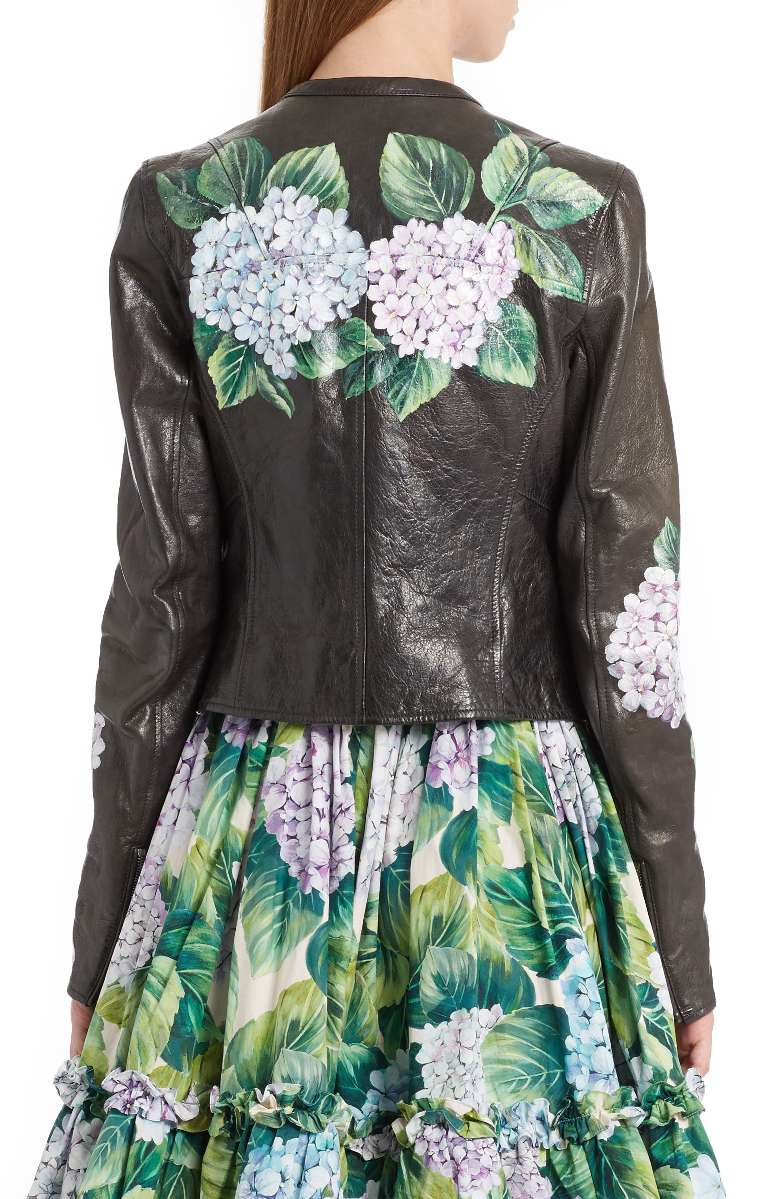 Hydrangea Painted Leather Jacket,                             Alternate thumbnail 2, color,