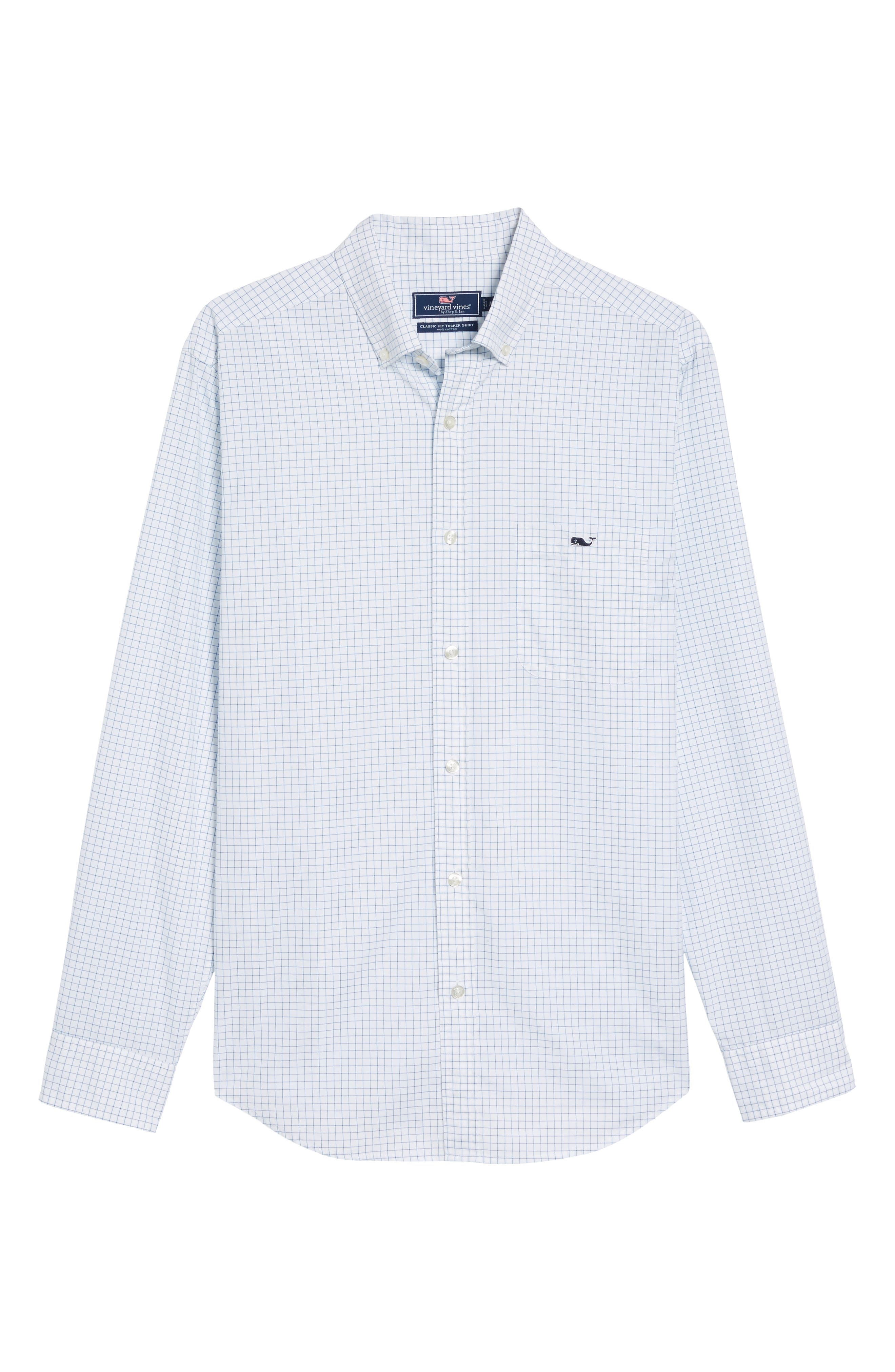 Navy Beach Classic Fit Check Sport Shirt,                             Alternate thumbnail 6, color,                             414