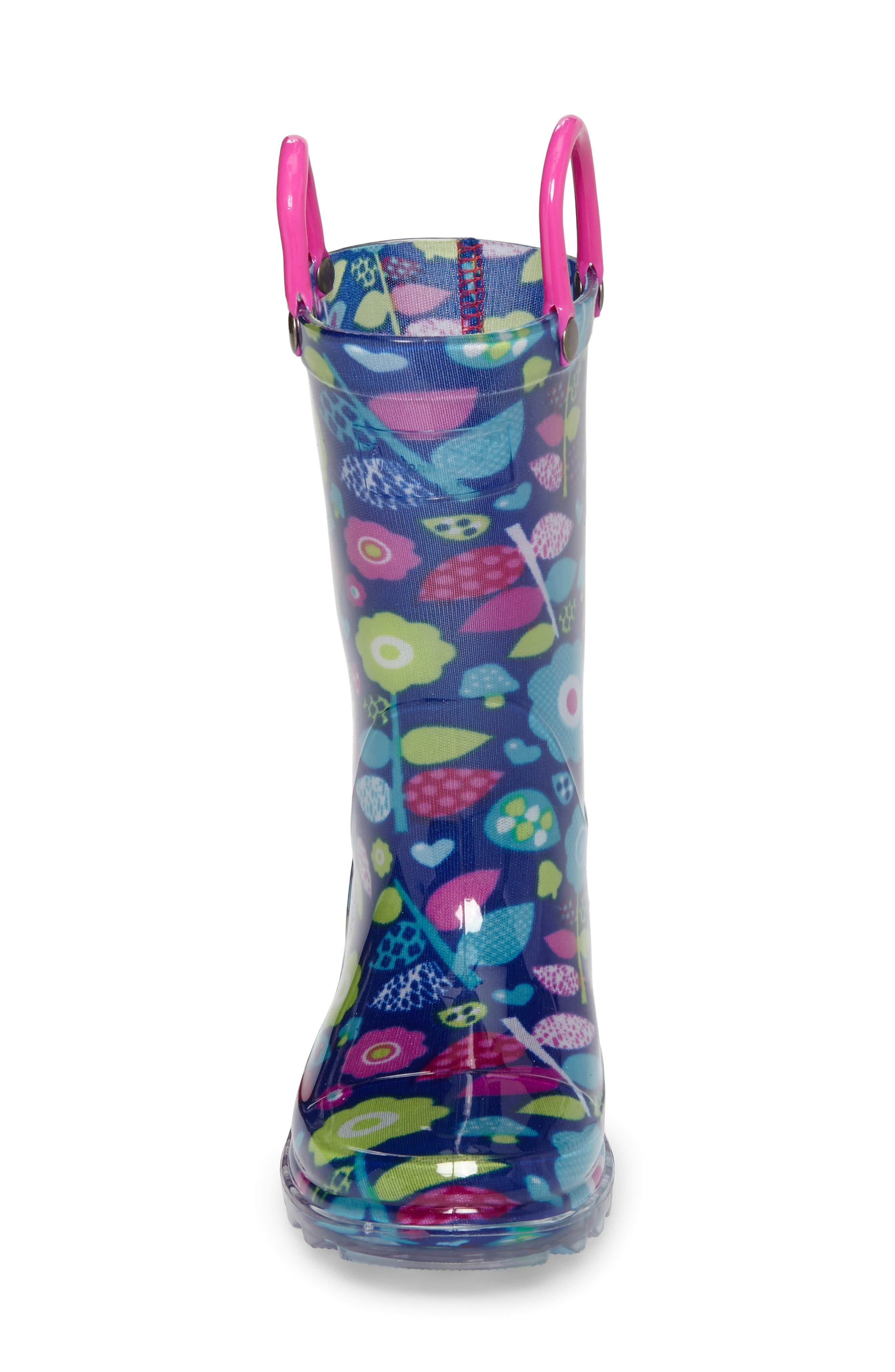 Pop Flower Light-Up Rain Boot,                             Alternate thumbnail 4, color,