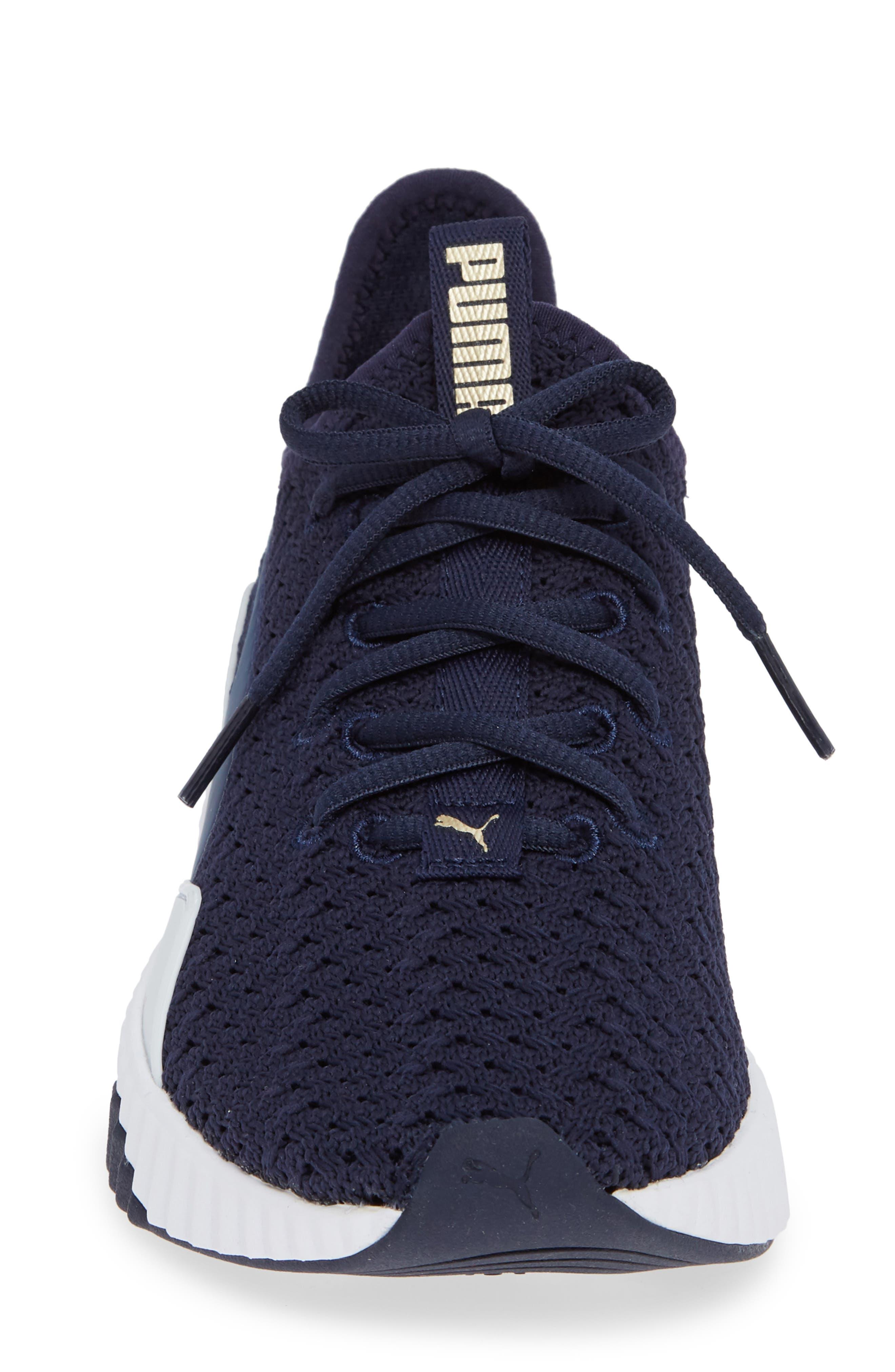 Defy Varsity Sneaker,                             Alternate thumbnail 4, color,                             BLUE/ METALLIC GOLD