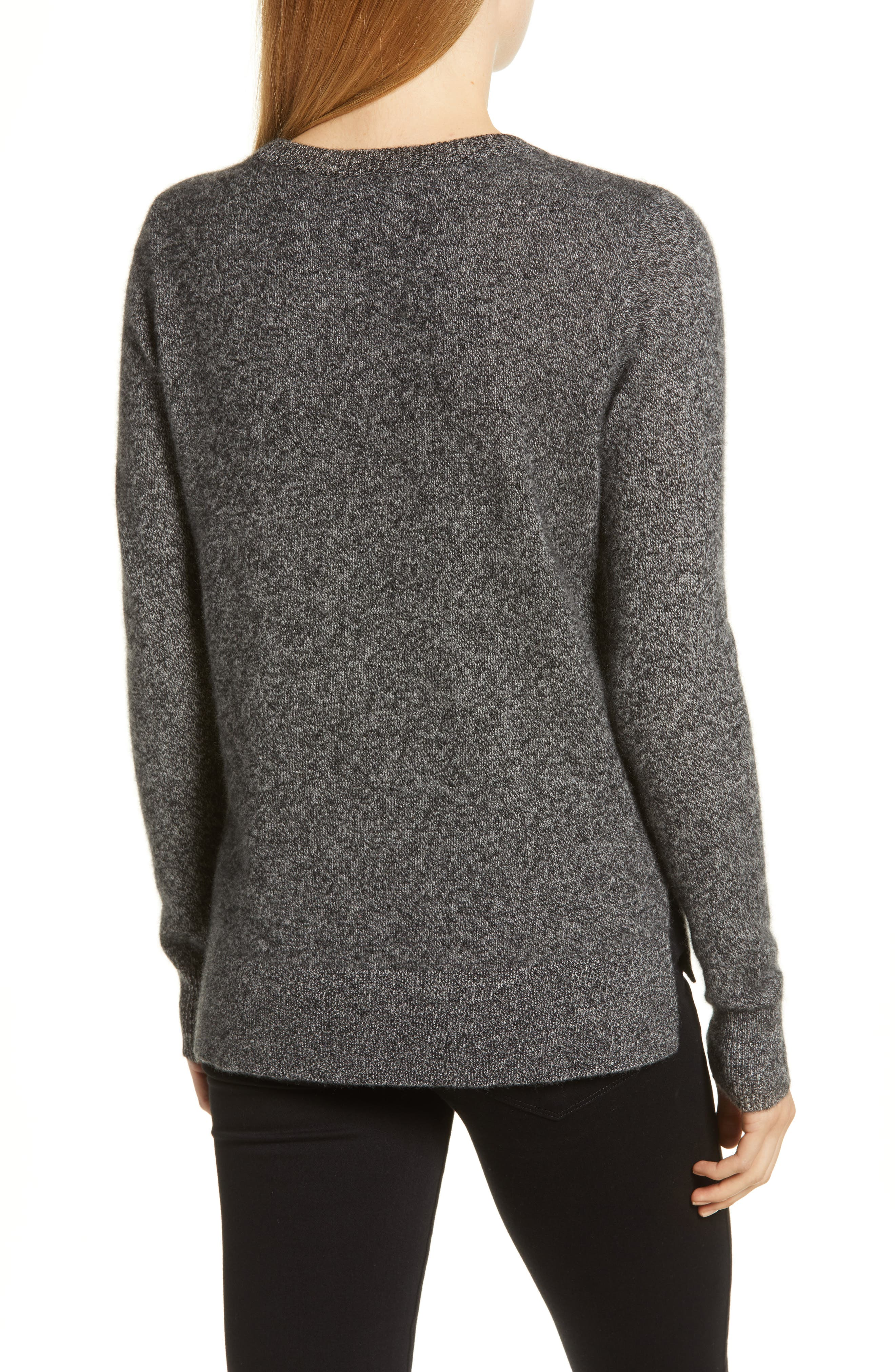 Crewneck Cashmere Sweater,                             Alternate thumbnail 2, color,                             BLACK- GREY MARL