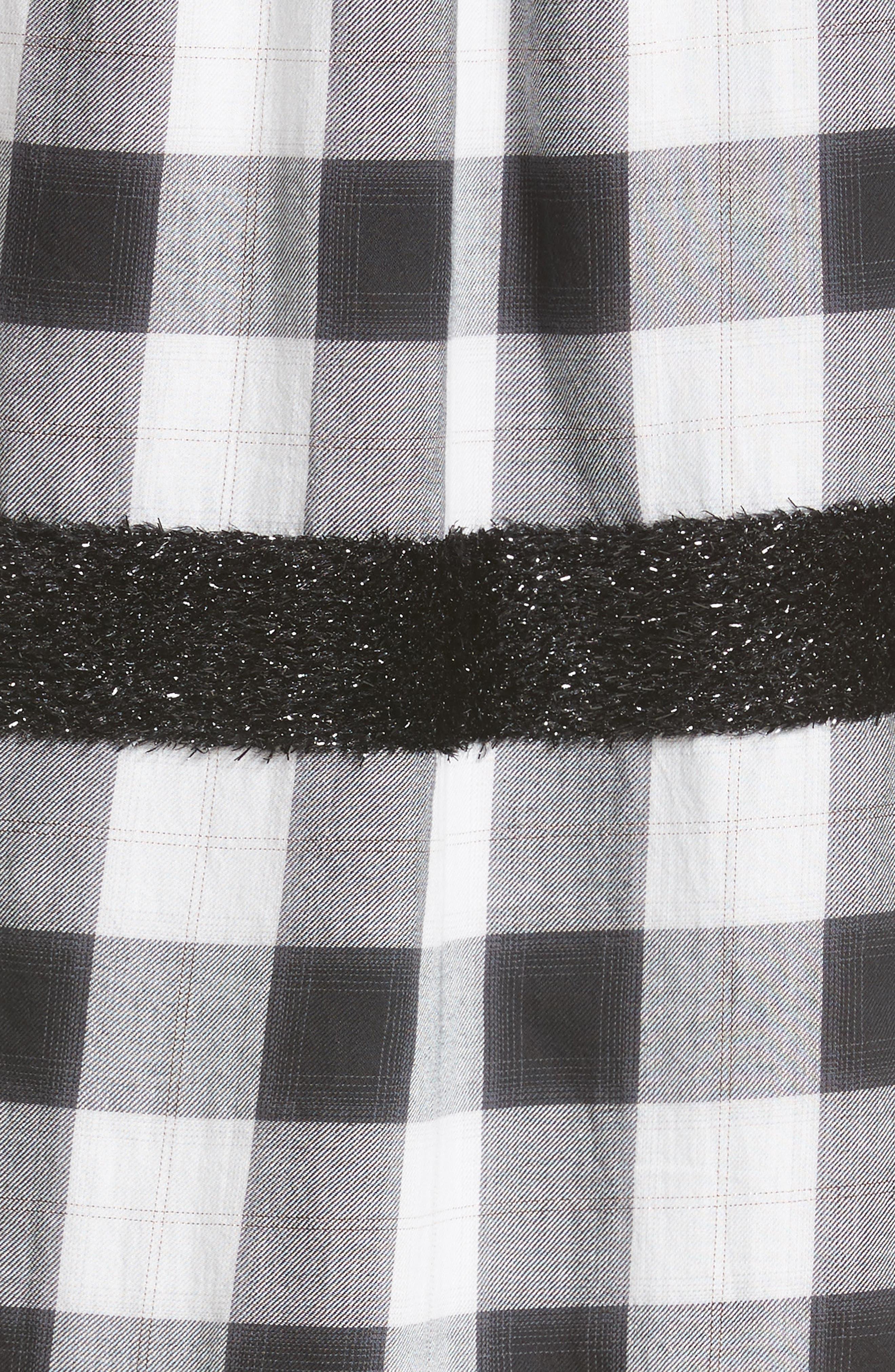 Bouclé Trim Plaid Maxi Dress,                             Alternate thumbnail 6, color,                             001
