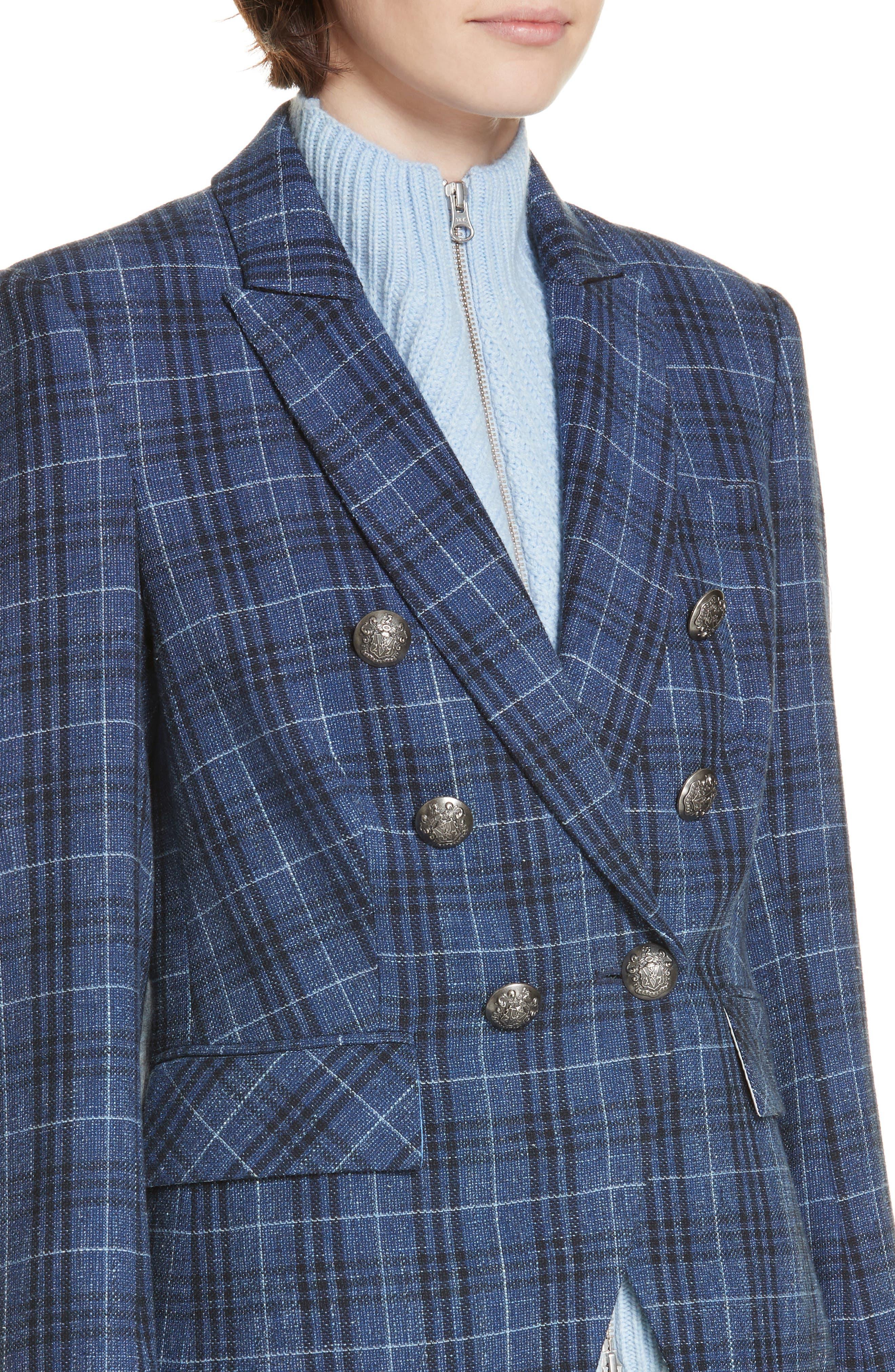 VERONICA BEARD,                             Miller Wool Blend Plaid Dickey Jacket,                             Alternate thumbnail 6, color,                             BLUE