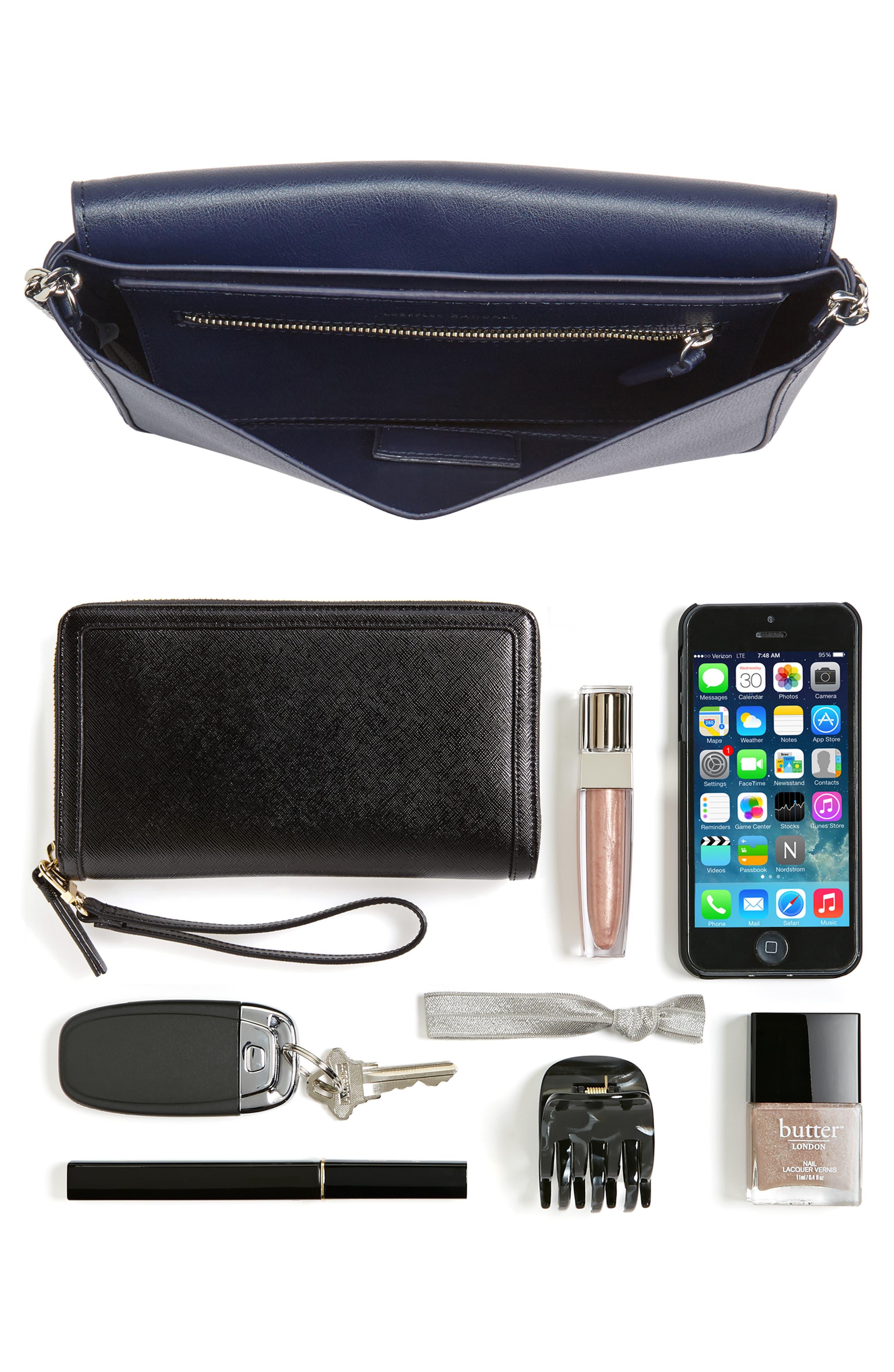 Lock Leather Flap Clutch/Shoulder Bag,                             Alternate thumbnail 7, color,
