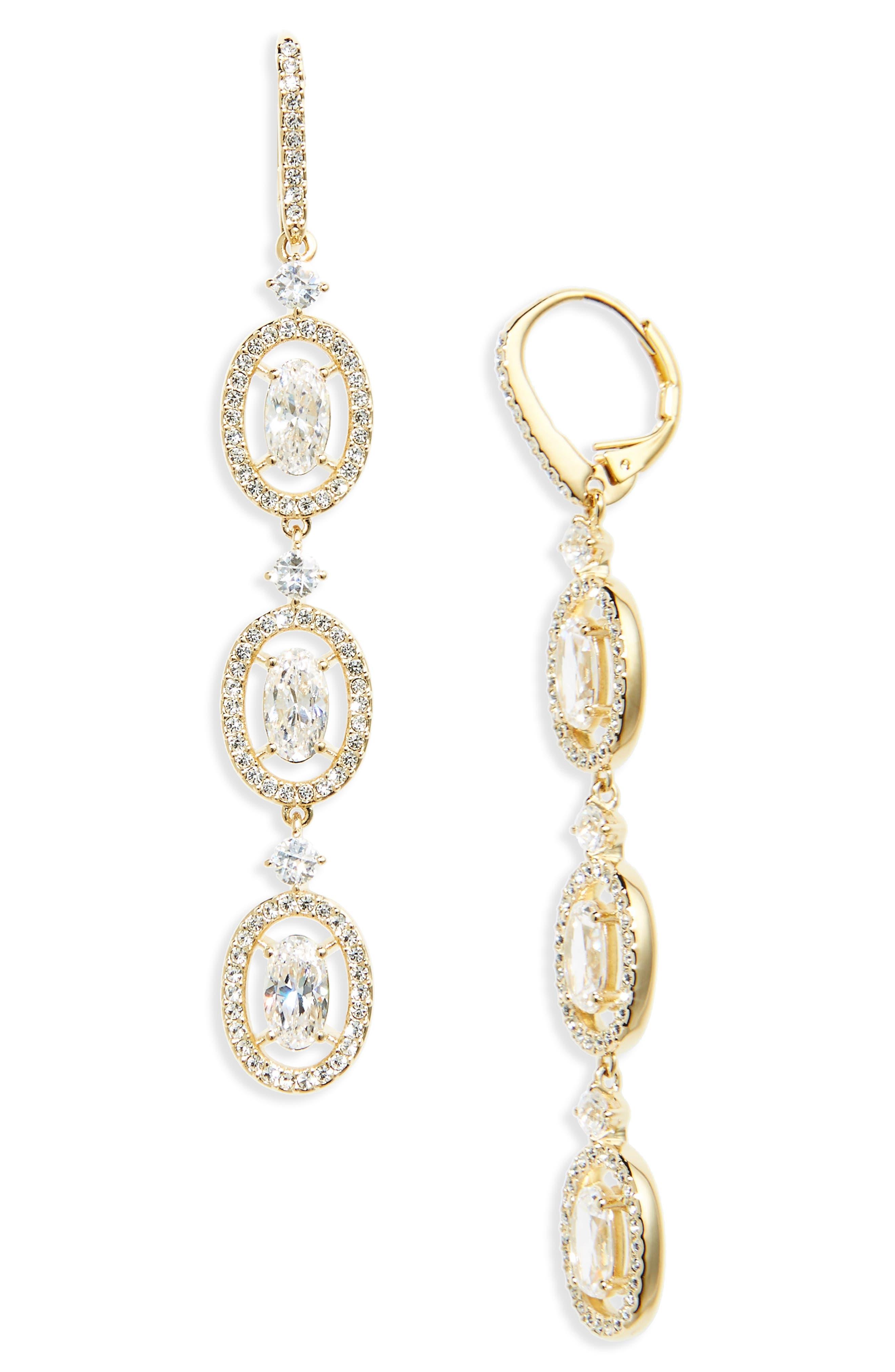Oval Halo Drop Earrings,                             Main thumbnail 1, color,                             GOLD