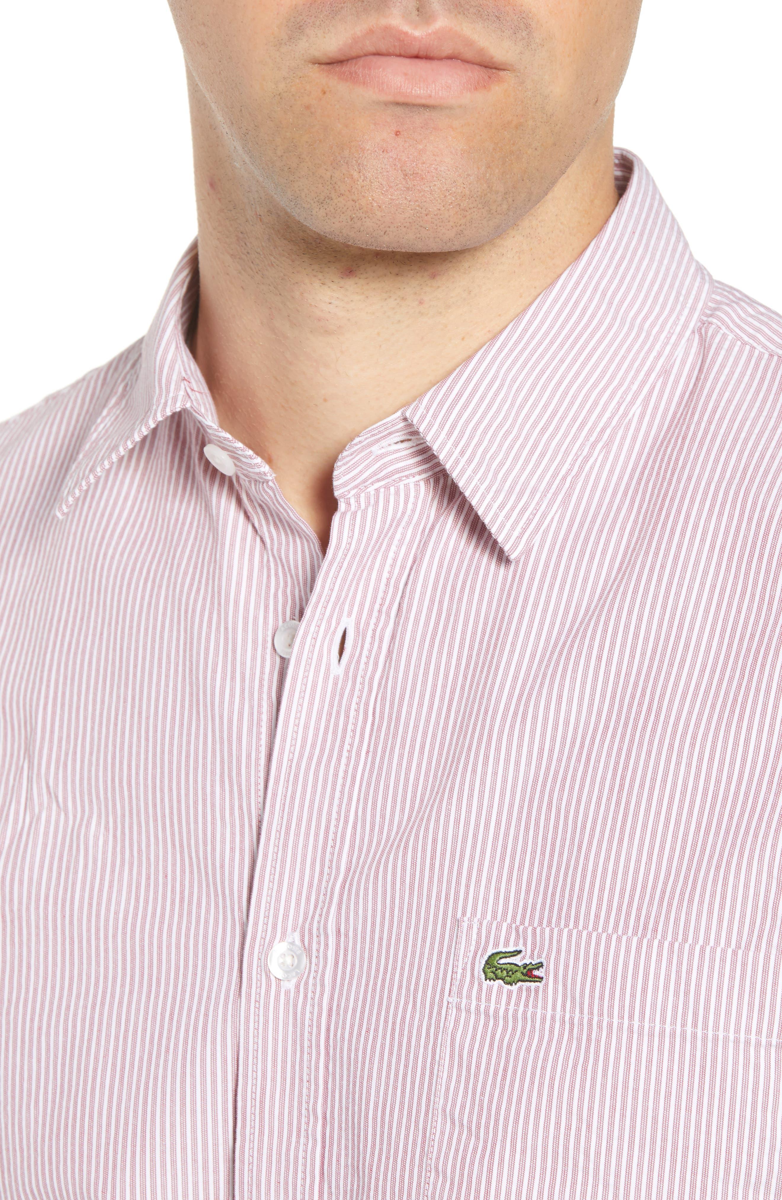 Regular Fit Seersucker Sport Shirt,                             Alternate thumbnail 4, color,                             TOREADOR