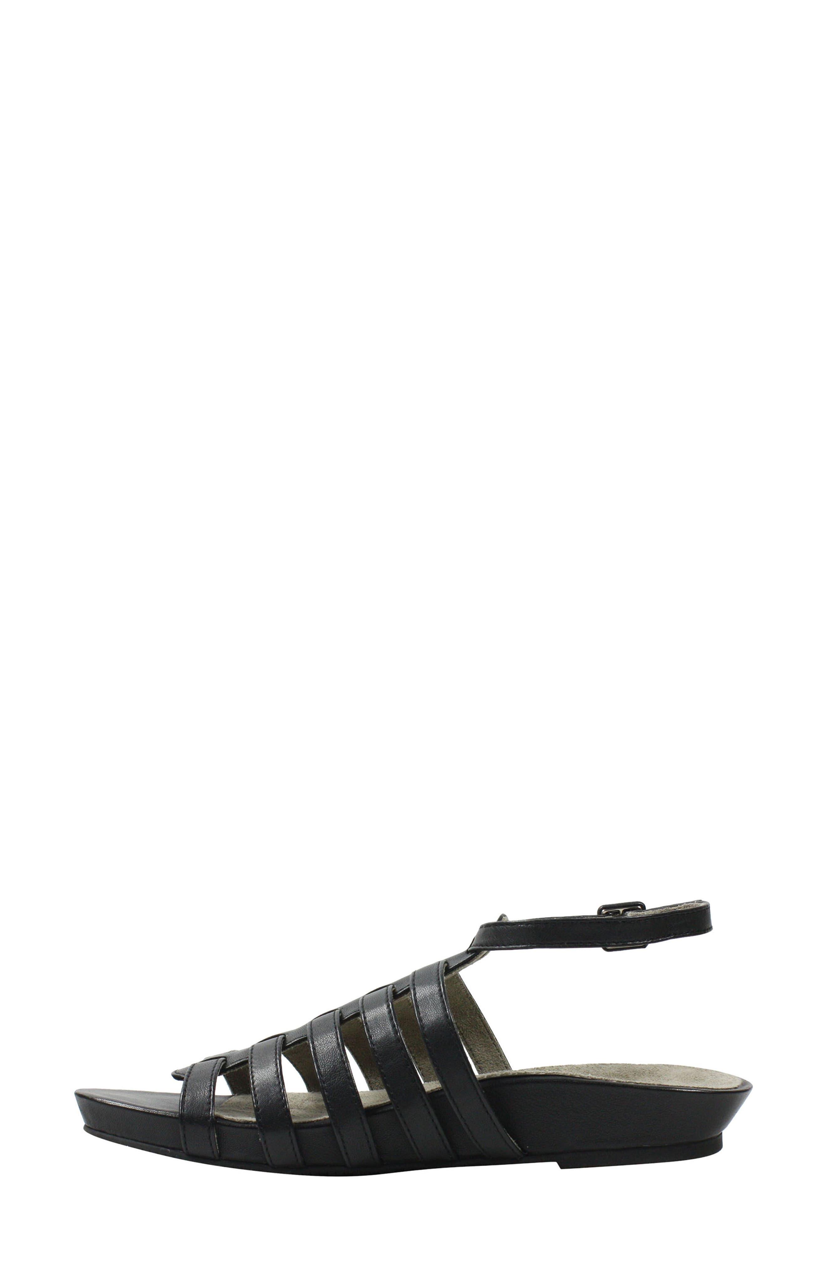Delmor Ankle Strap Sandal,                             Alternate thumbnail 3, color,                             BLACK LEATHER