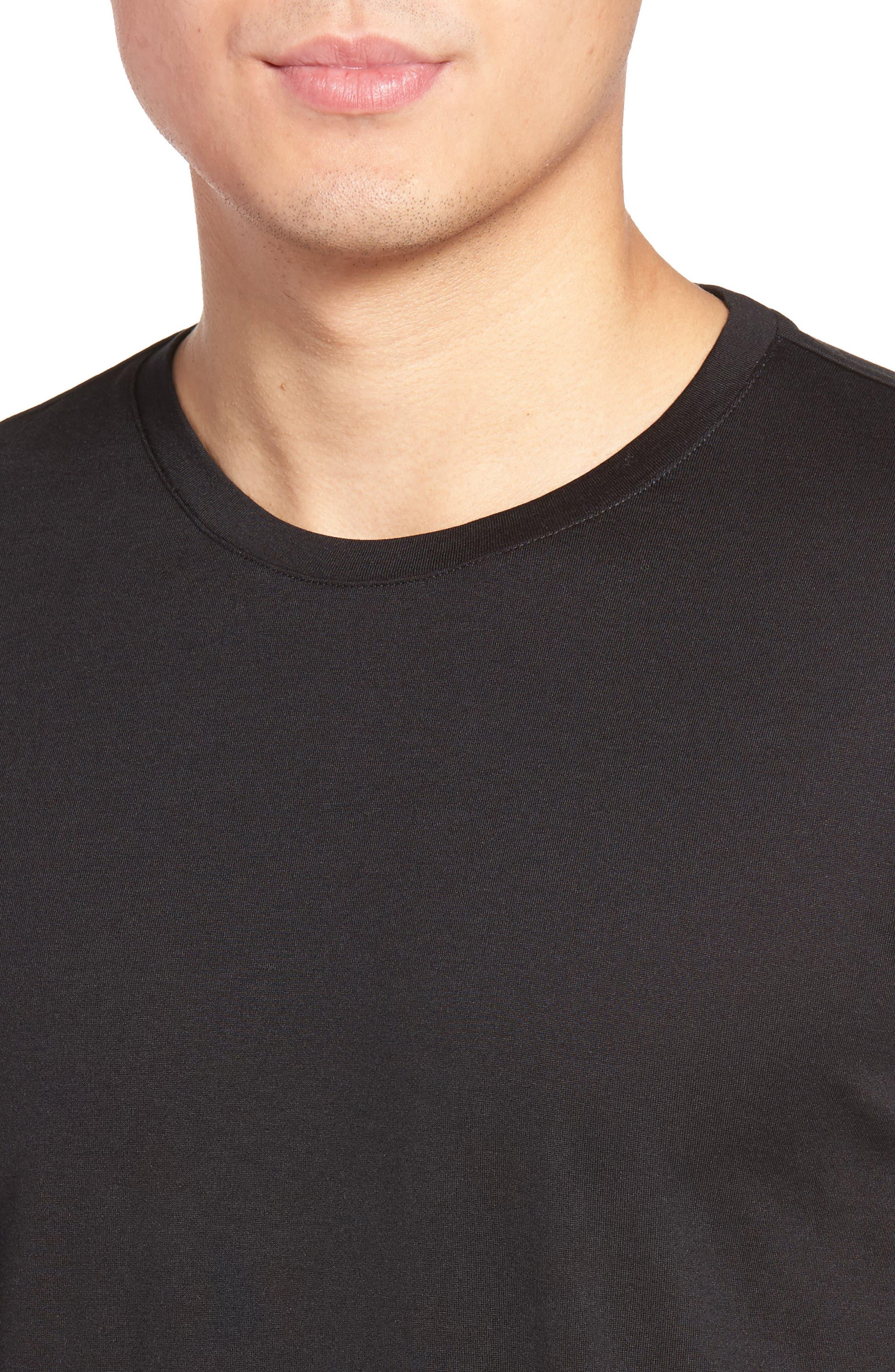 Silk & Cotton Crewneck T-Shirt,                             Alternate thumbnail 4, color,                             001