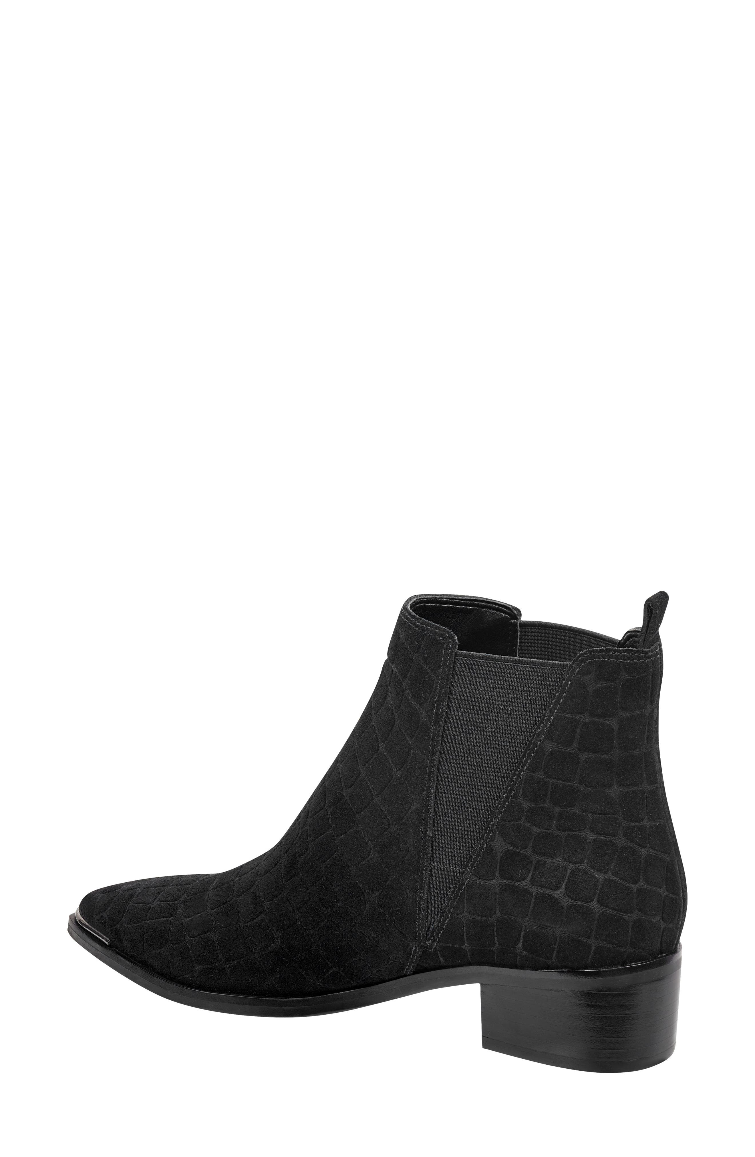 'Yale' Chelsea Boot,                             Alternate thumbnail 2, color,                             BLACK CROC EMBOSSED SUEDE