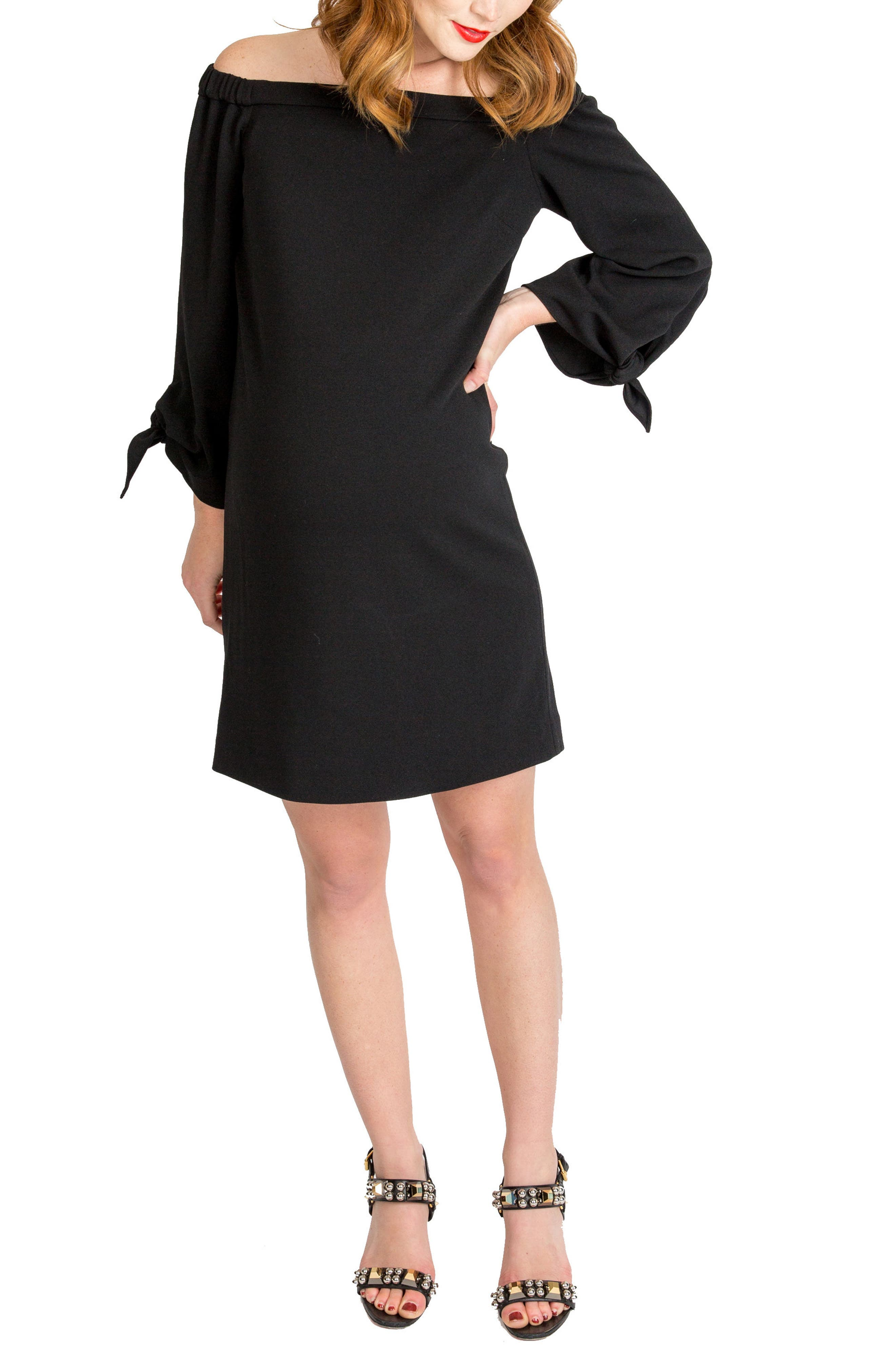 Octavia Off The Shoulder Maternity Dress,                         Main,                         color, BLACK