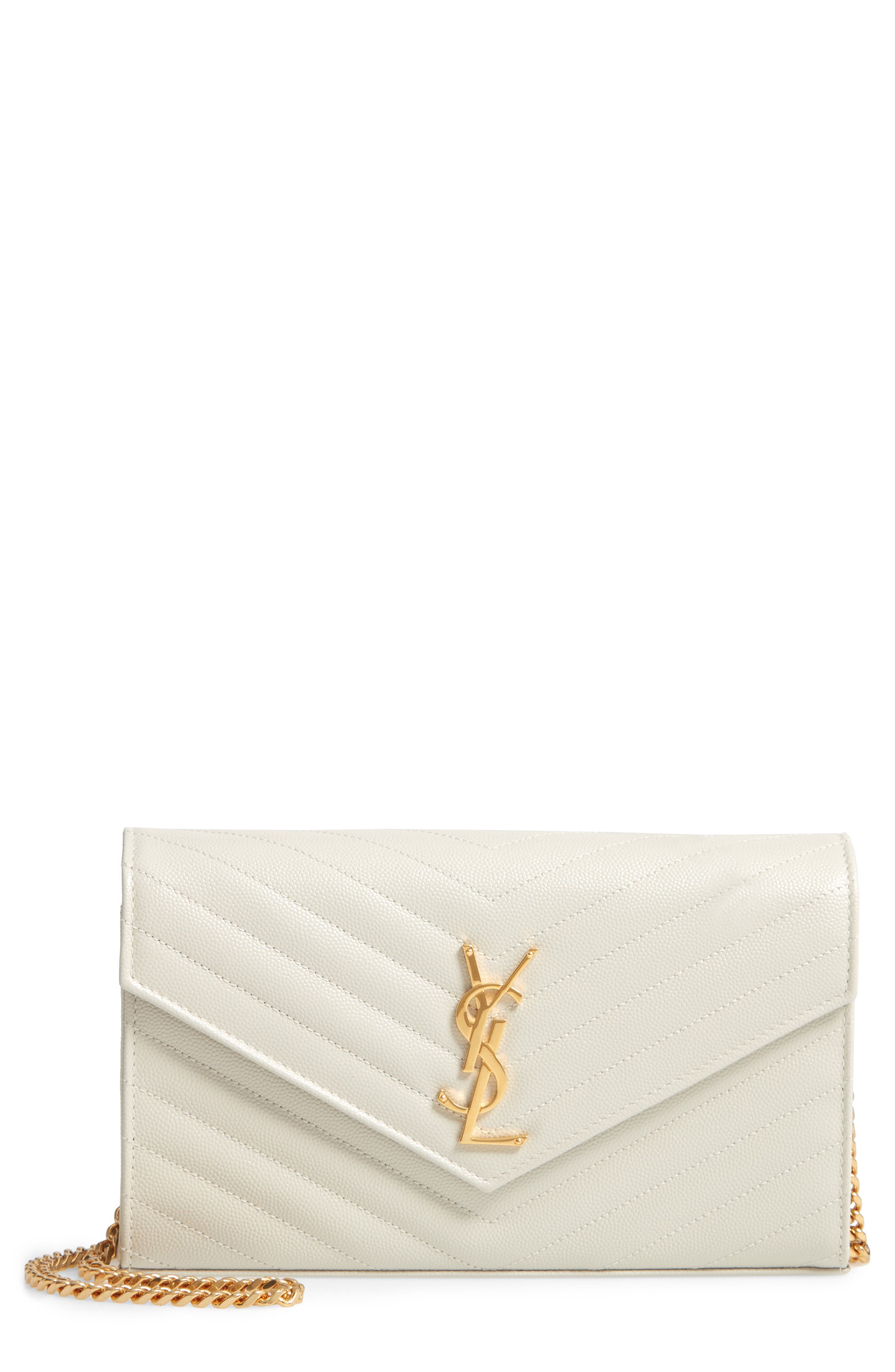'Large Monogram' Quilted Leather Wallet on a Chain,                             Main thumbnail 1, color,                             CREMASOFT