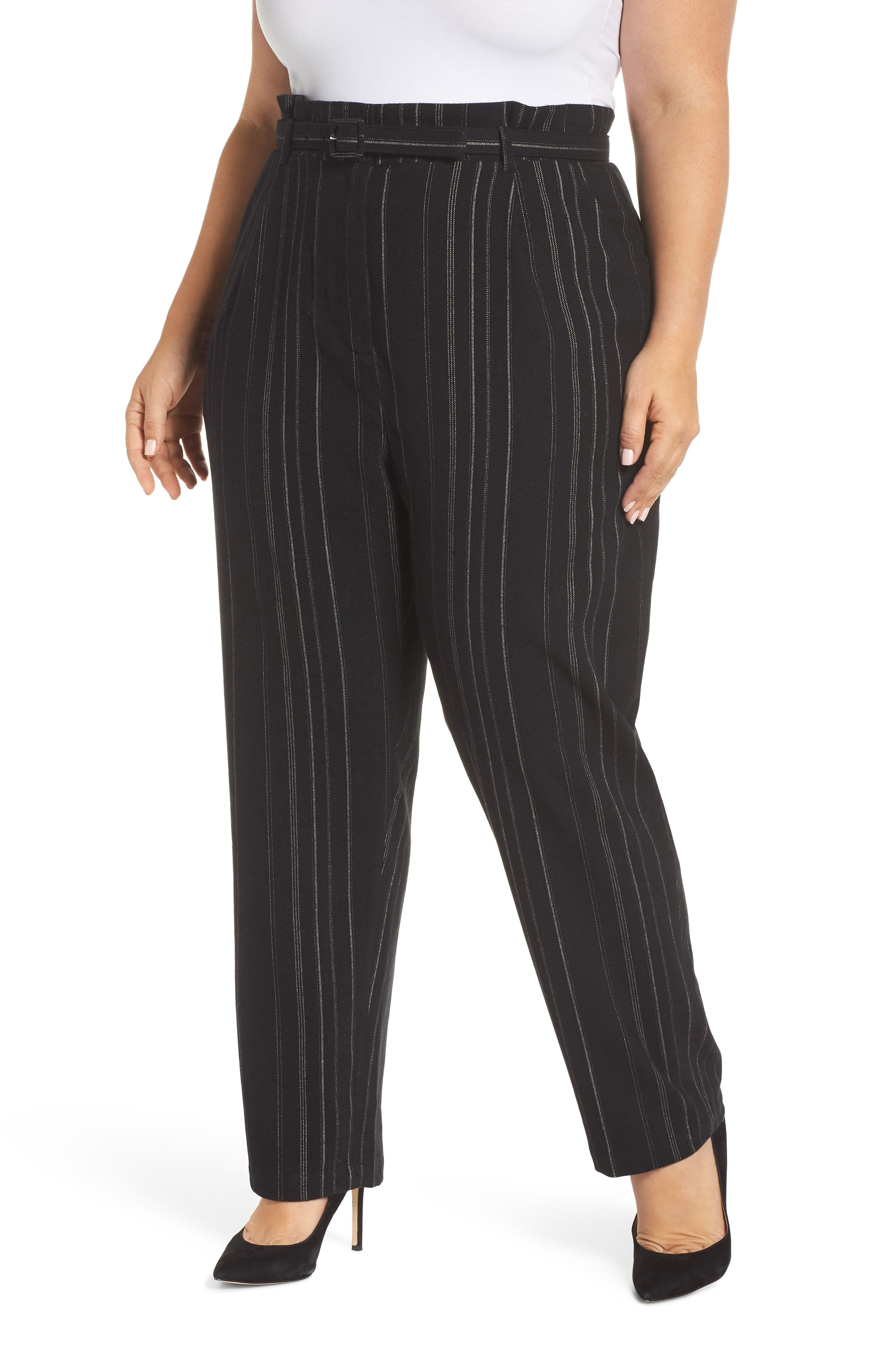High Rise Belted Paperbag Pants,                             Alternate thumbnail 2, color,                             BLACK MIXED STRIPE
