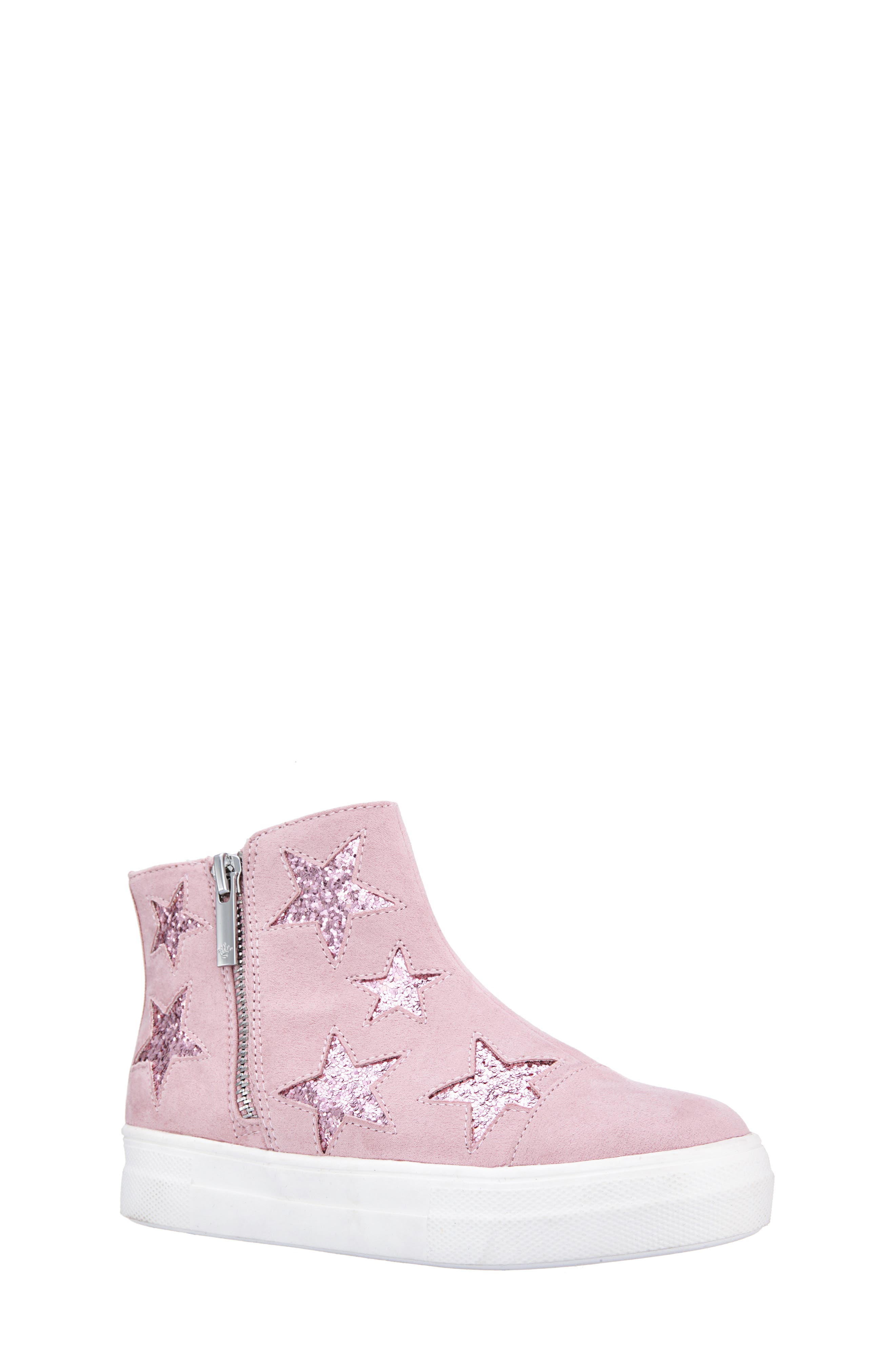 Jacqui Glitter High Top Sneaker,                             Main thumbnail 1, color,                             BLUSH MICRO SUEDE