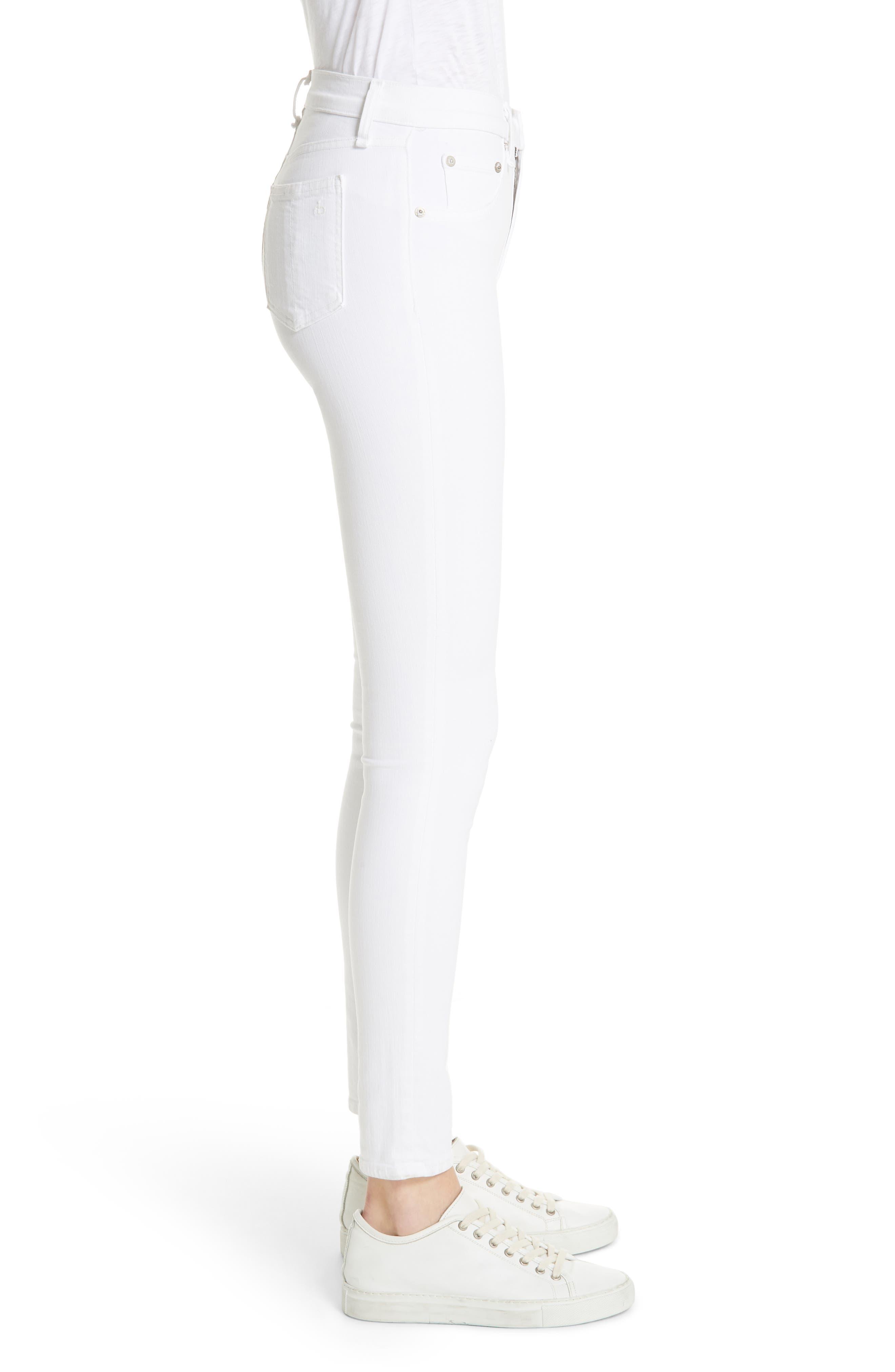 High Waist Skinny Jeans,                             Alternate thumbnail 3, color,                             BLANC