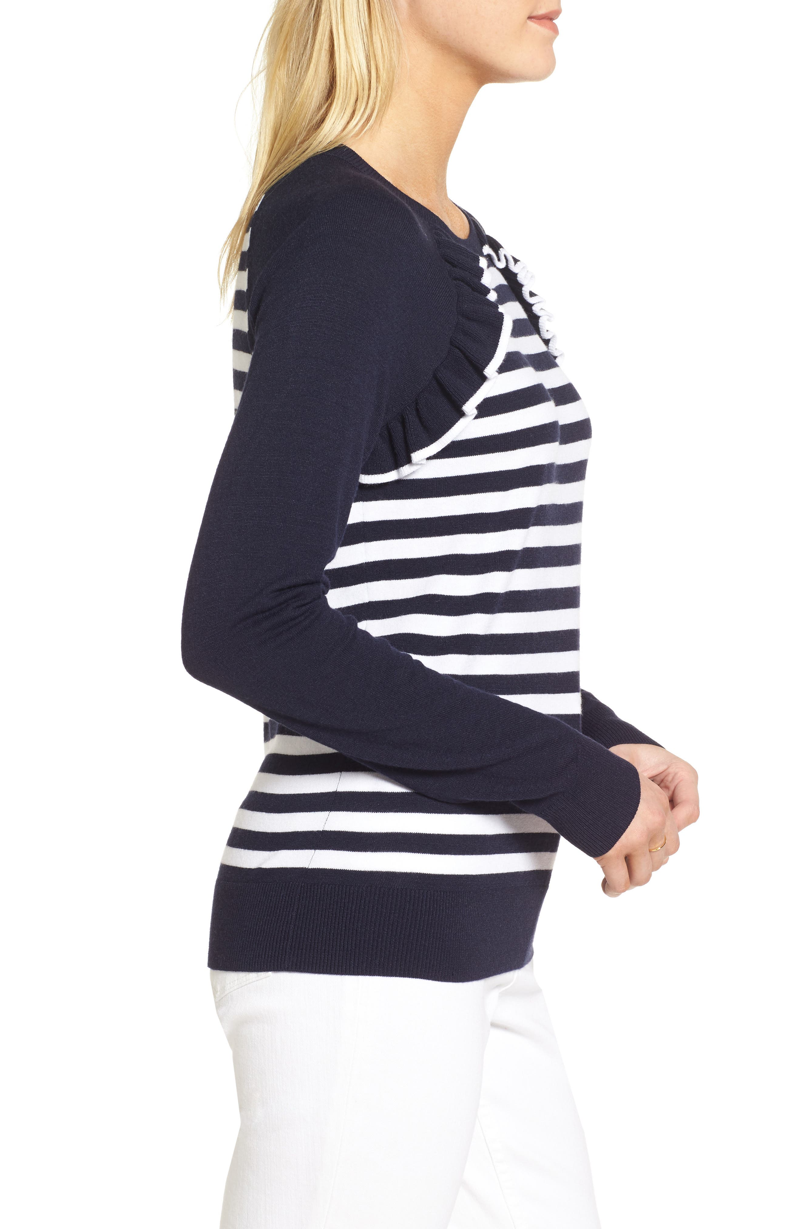 Ruffle Trim Stripe Sweater,                             Alternate thumbnail 8, color,