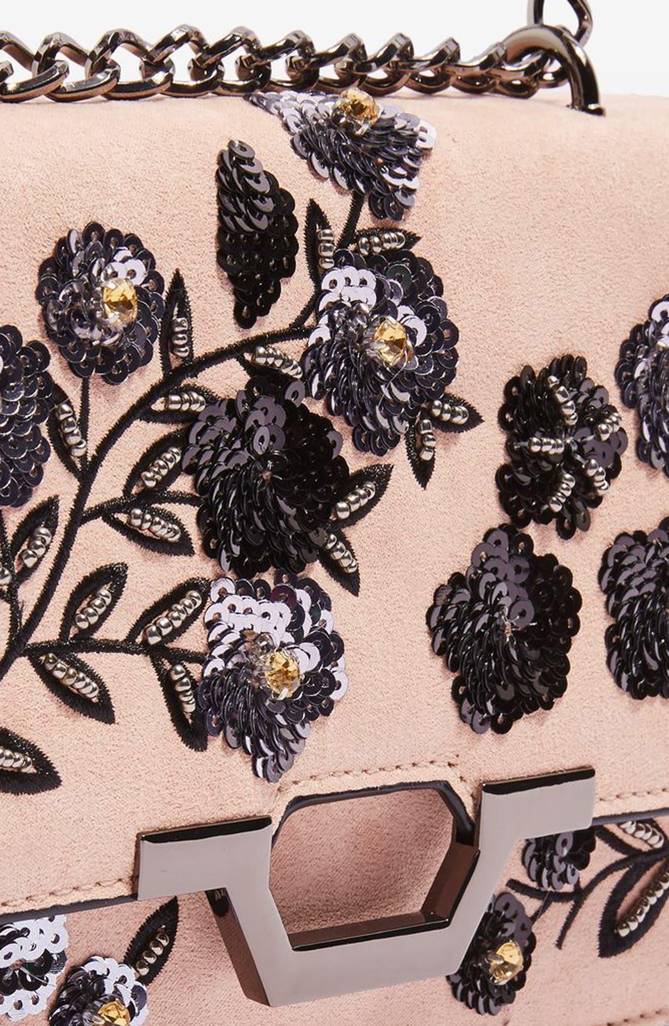 Kylie Embellished Faux Suede Crossbody Bag,                             Alternate thumbnail 10, color,