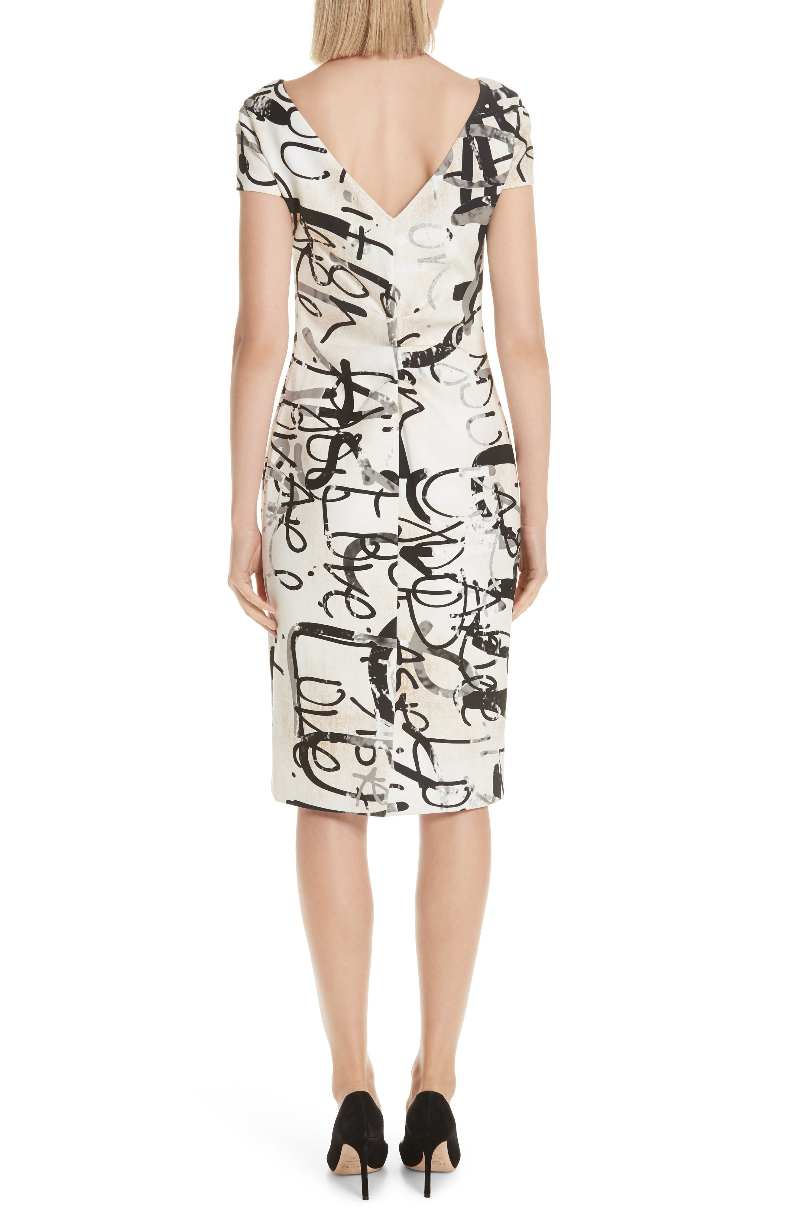 Alcali Scribble Print Sheath Dress,                             Alternate thumbnail 2, color,                             BEIGE