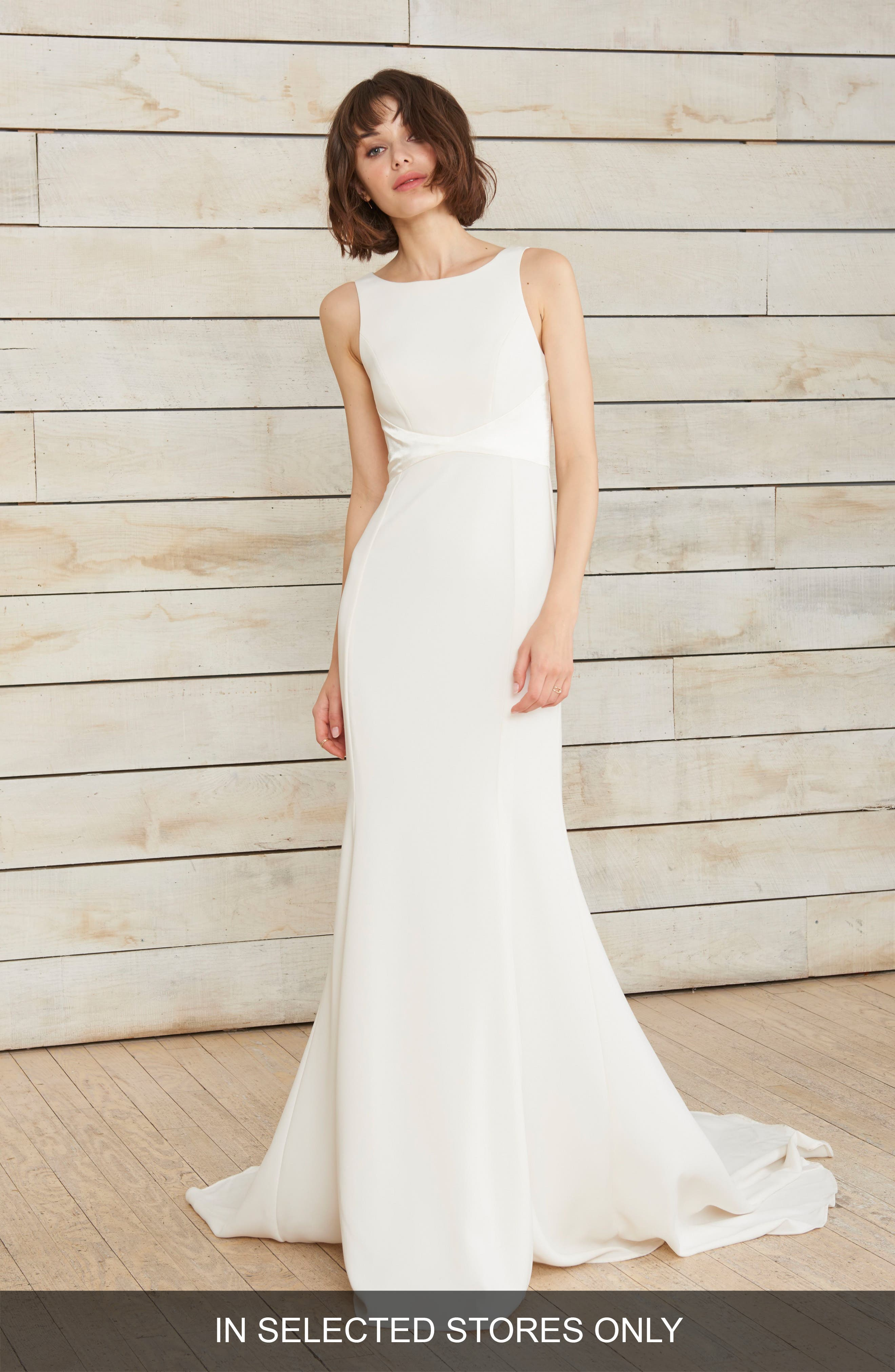 Phillipa High Neck Crepe Gown,                             Main thumbnail 1, color,                             IVORY