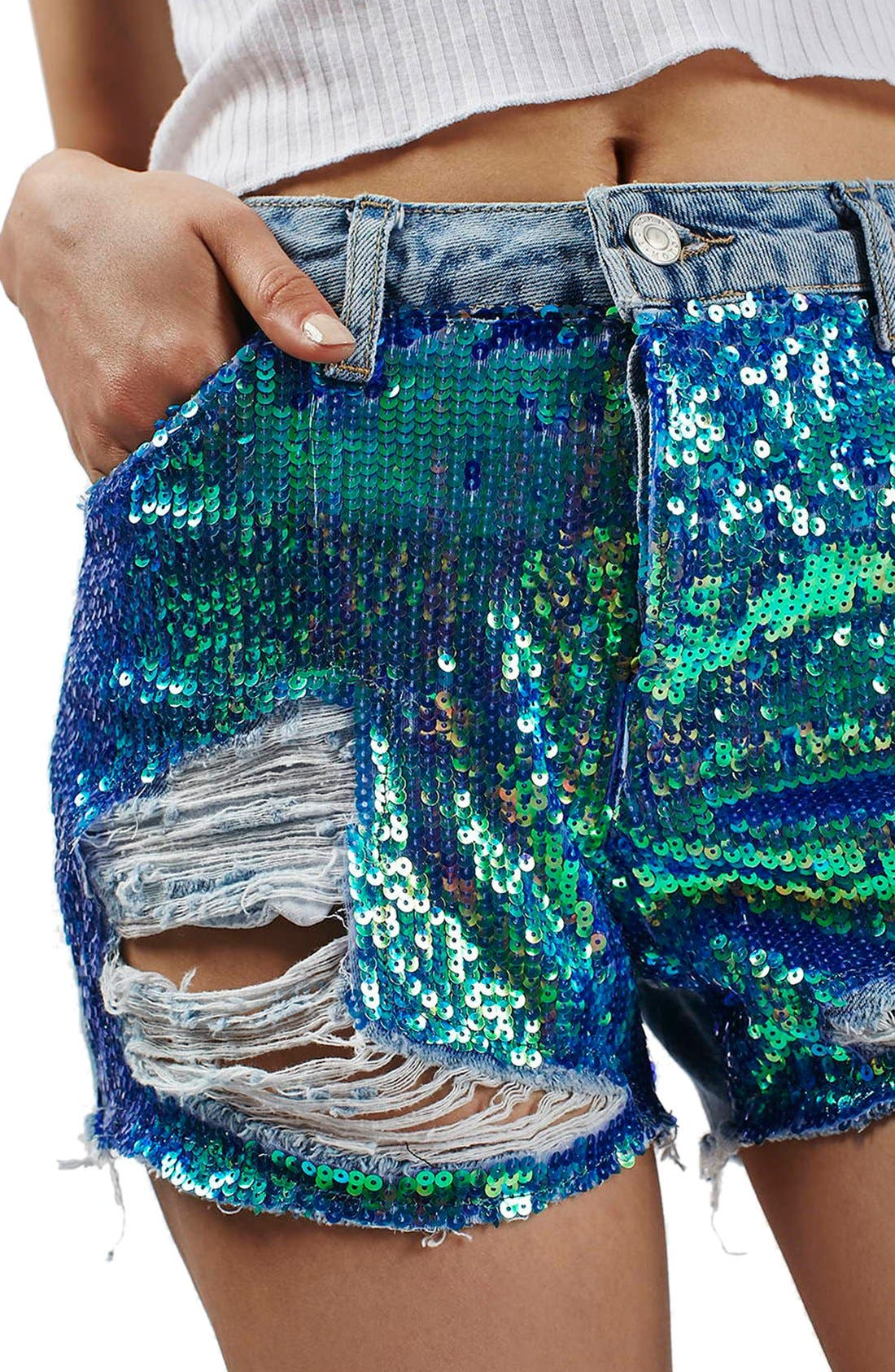 'Ashley' Sequin Cutoff Denim Shorts,                             Alternate thumbnail 4, color,                             400