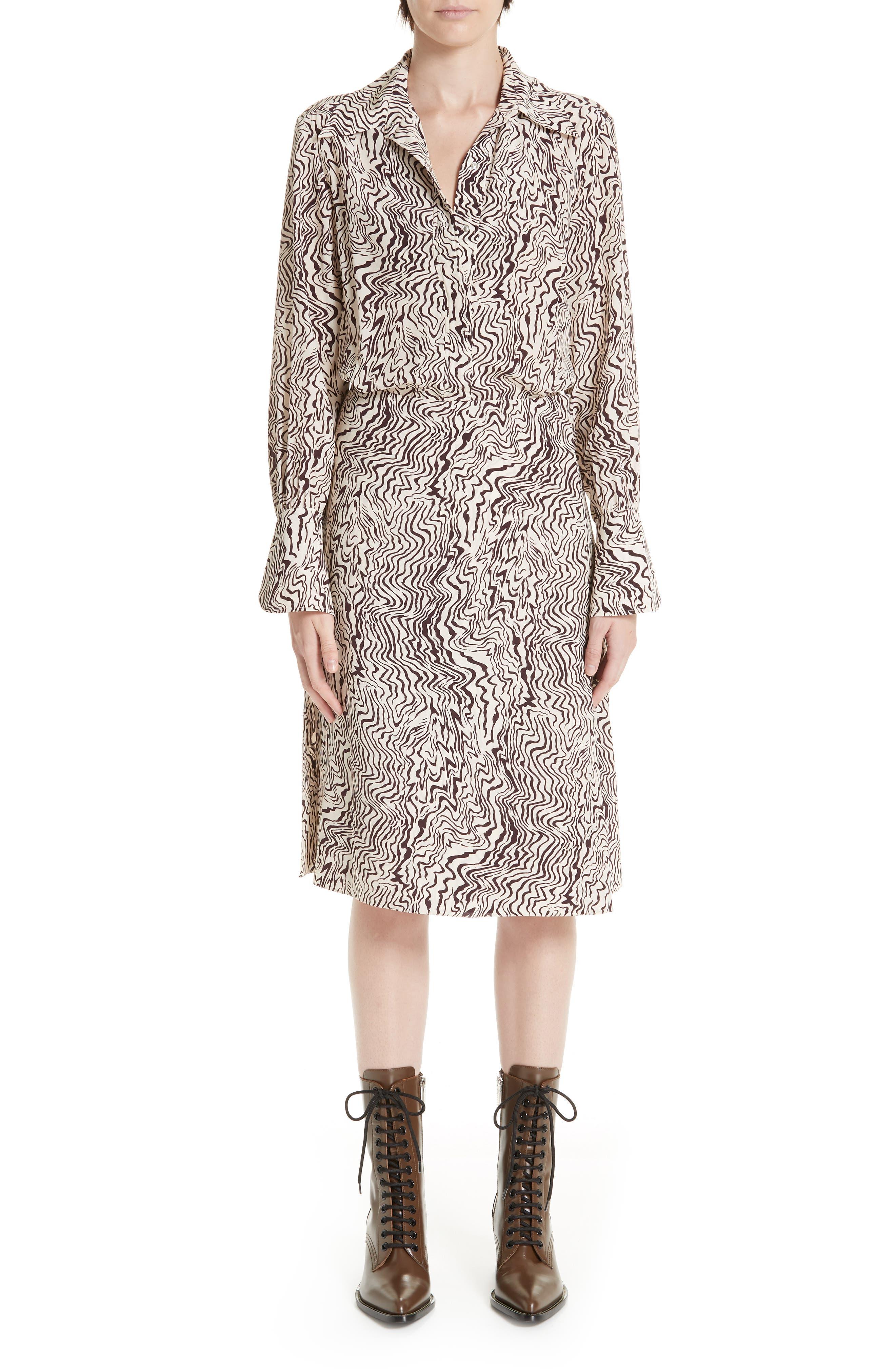 Wave Print Silk Shirtdress,                         Main,                         color, BEIGE - BROWN 1