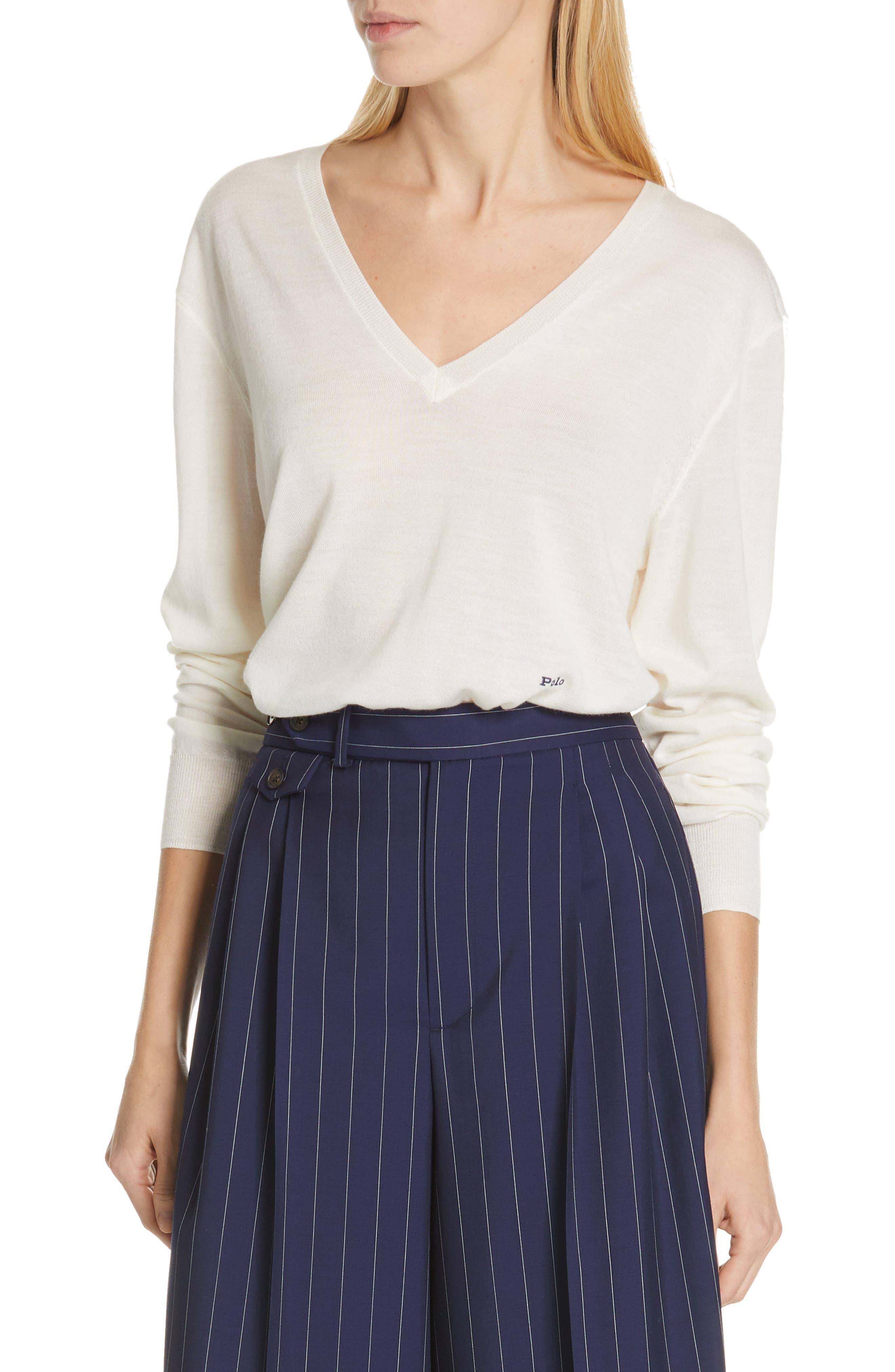 Polo Ralph Lauren V-Neck Wool, Silk & Cashmere Sweater, Ivory