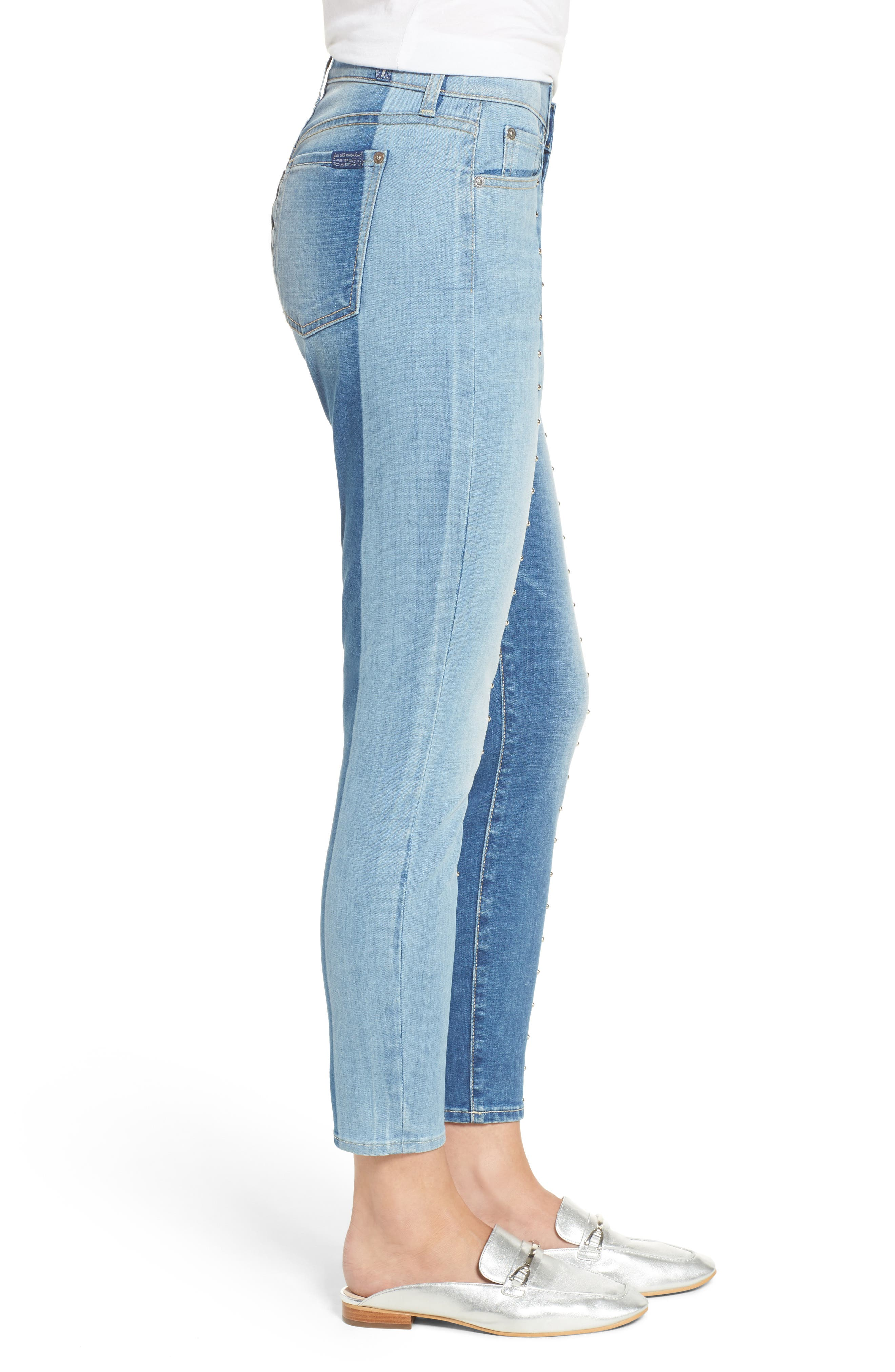 Shadow Seamed Ankle Skinny Jeans,                             Alternate thumbnail 3, color,                             400
