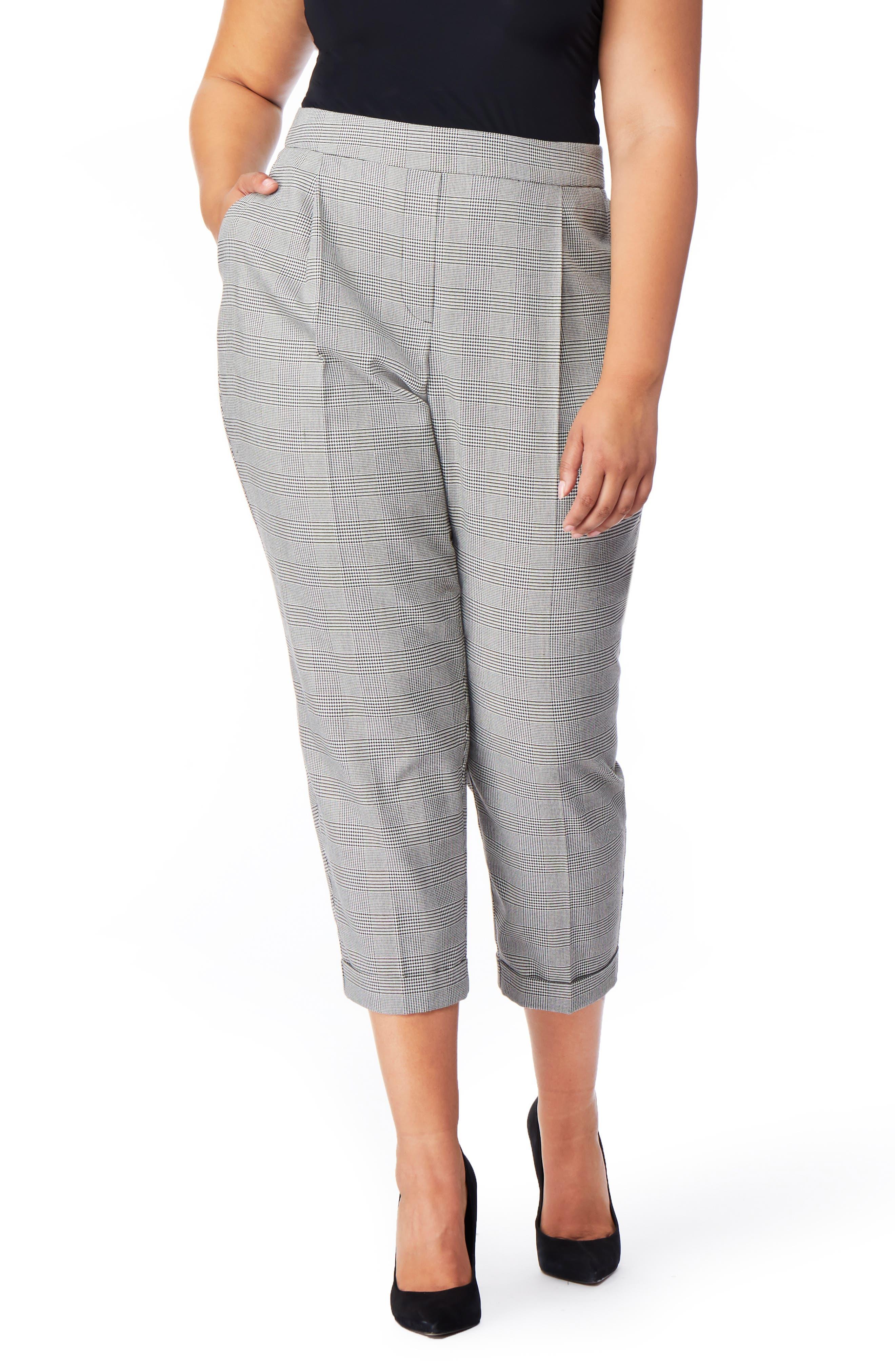 High Rise Cuffed Tuxedo Pants,                             Main thumbnail 1, color,                             SMALL PARTON PLAID