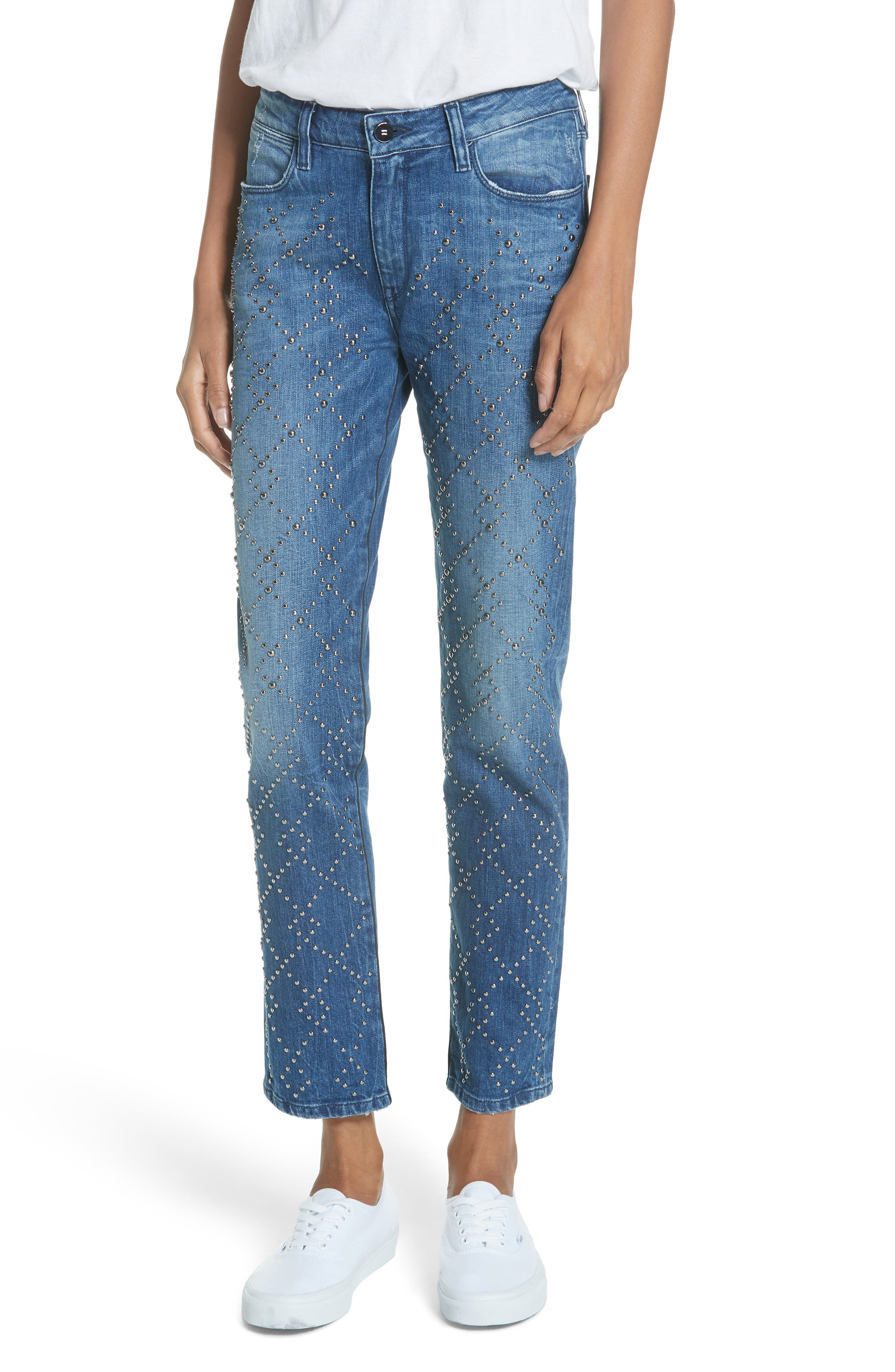 BROCKEN BOW Cale Lily Studded Ankle Straight Leg Jeans in Tokyo Blue