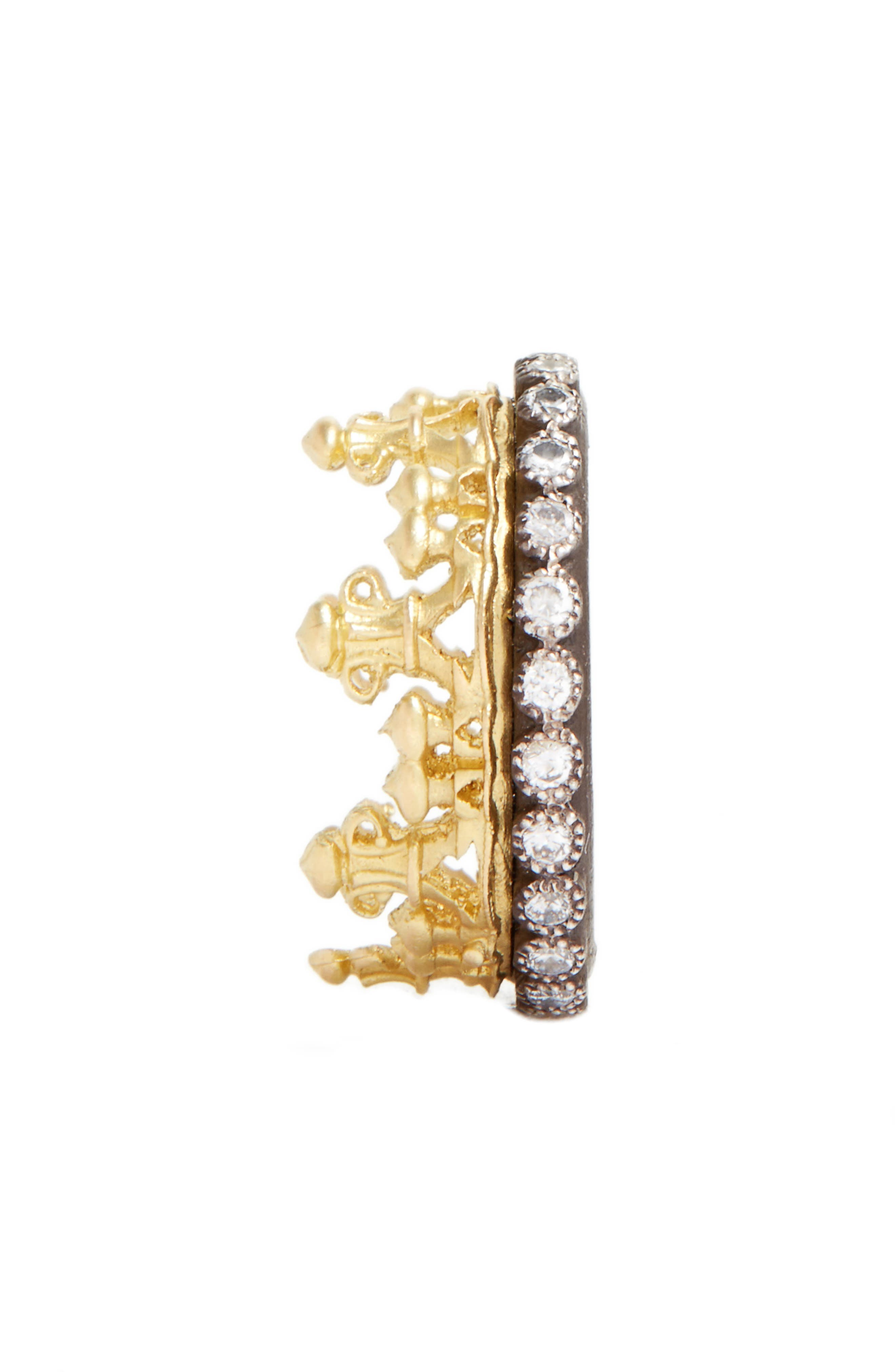 Old World Diamond Crown Ring,                             Alternate thumbnail 3, color,                             GOLD
