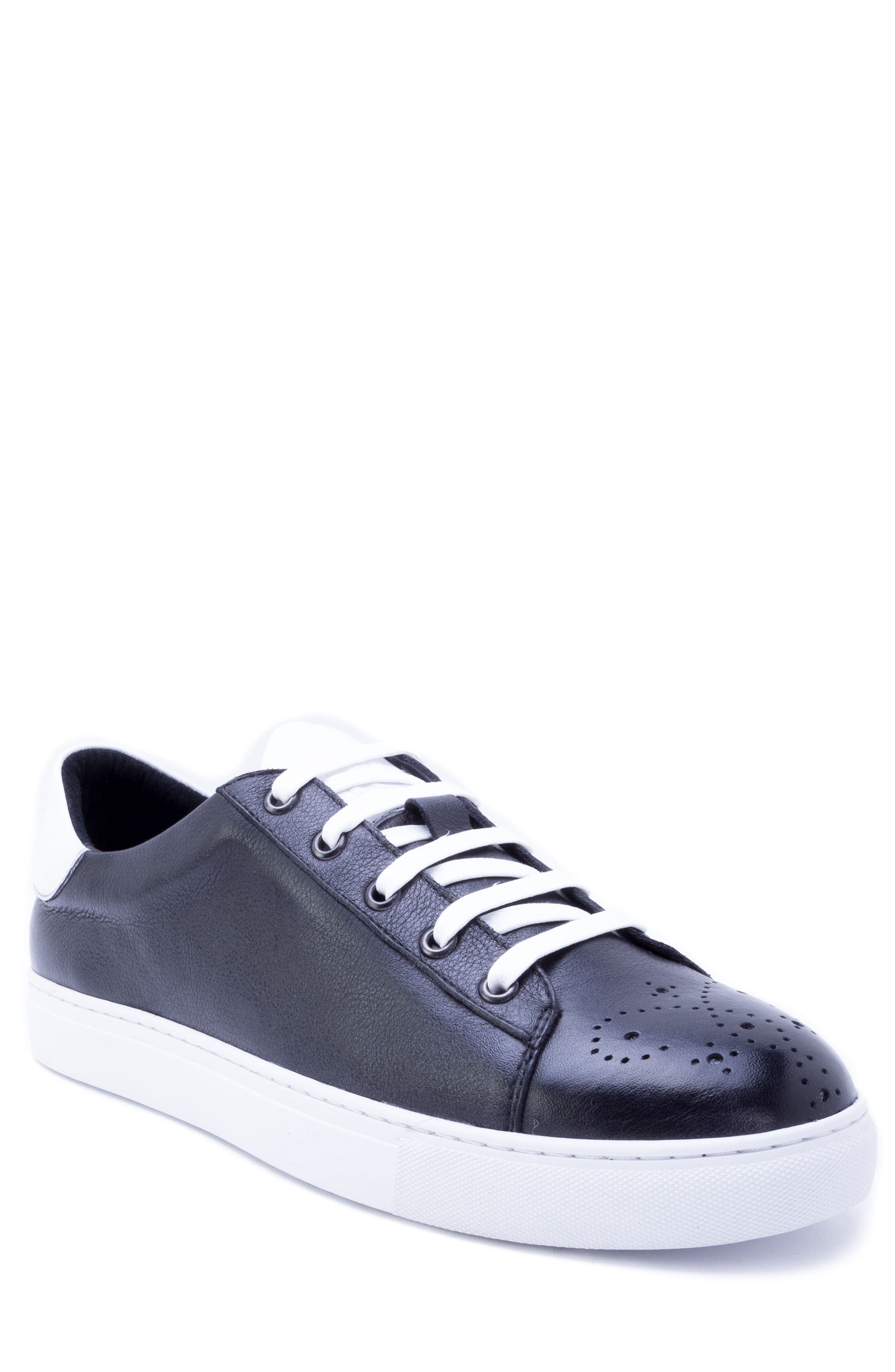 Sinatra Sneaker,                         Main,                         color, BLACK LEATHER