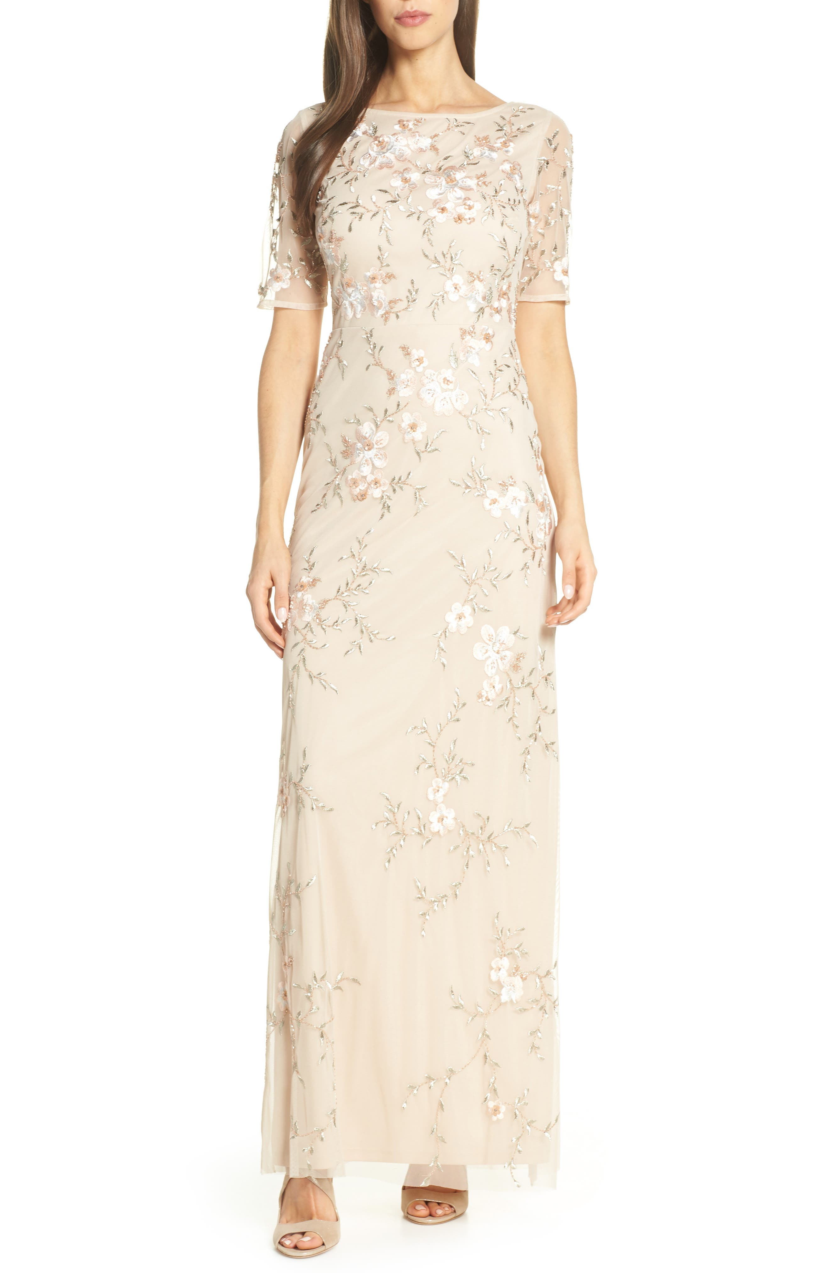 Adrianna Papell Embroidered Mesh Evening Dress, Beige